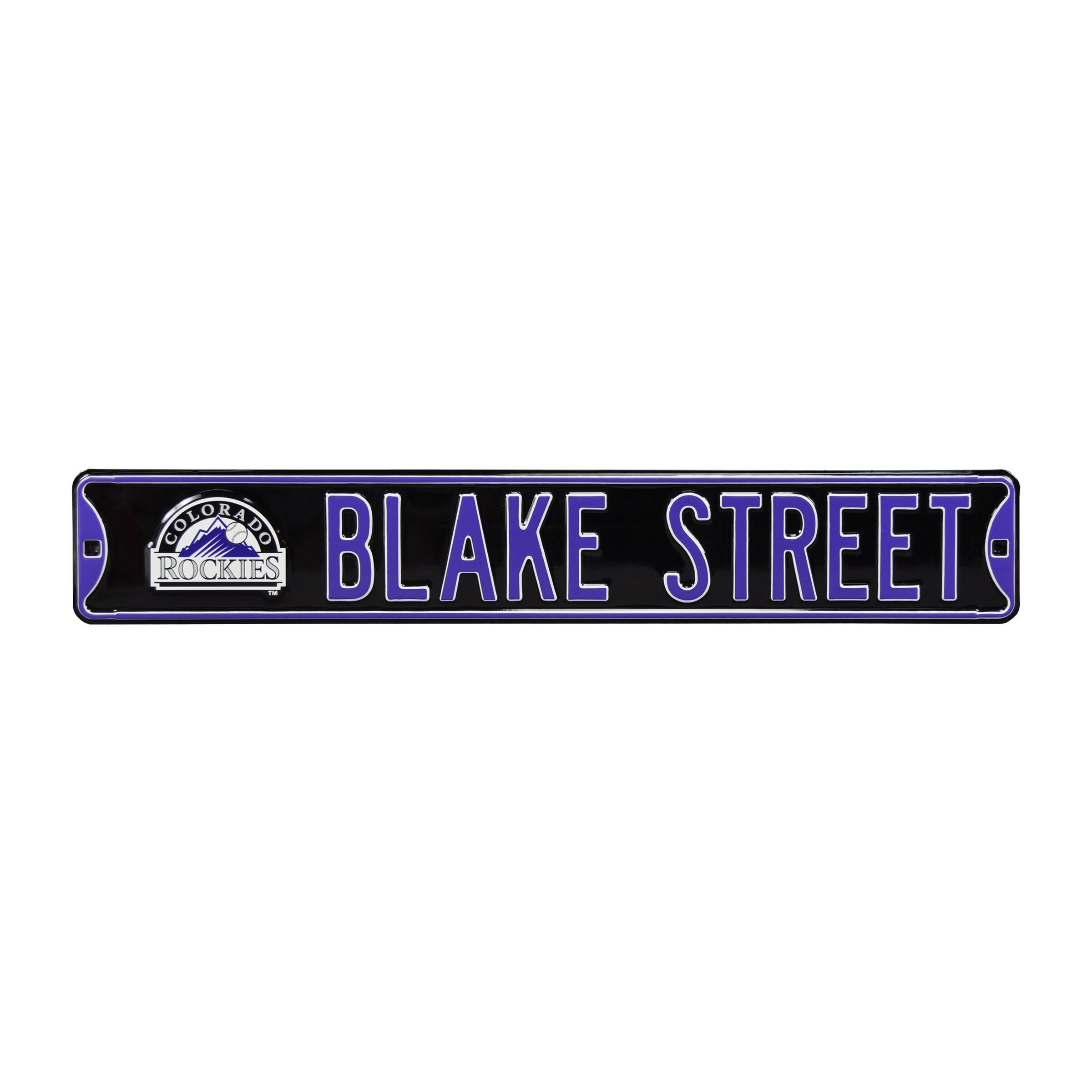"Colorado Rockies 6"" x 36"" Blake Street Steel Ave Sign Wall Art - Black"