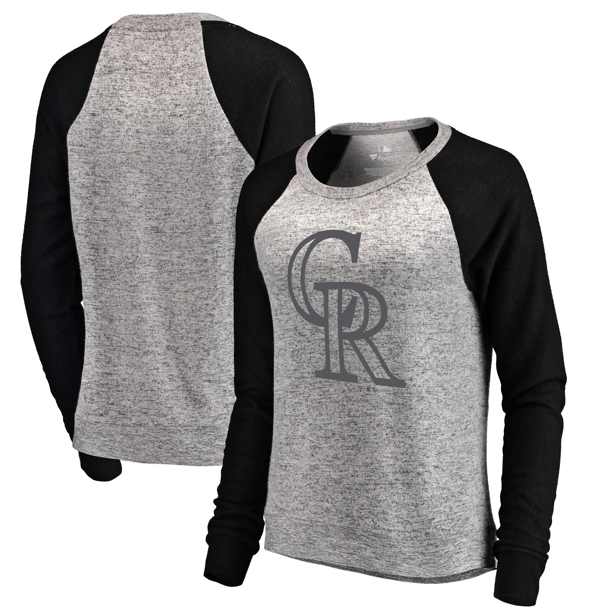 Colorado Rockies Let Loose by RNL Women's Cozy Collection Plush Raglan Tri-Blend Sweatshirt - Ash