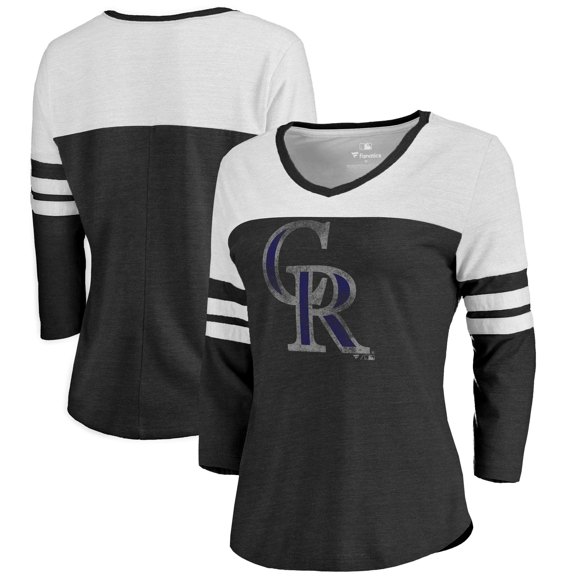 Colorado Rockies Fanatics Branded Women's Distressed Team Logo 3/4 Sleeve Tri-Blend T-Shirt - Black/White