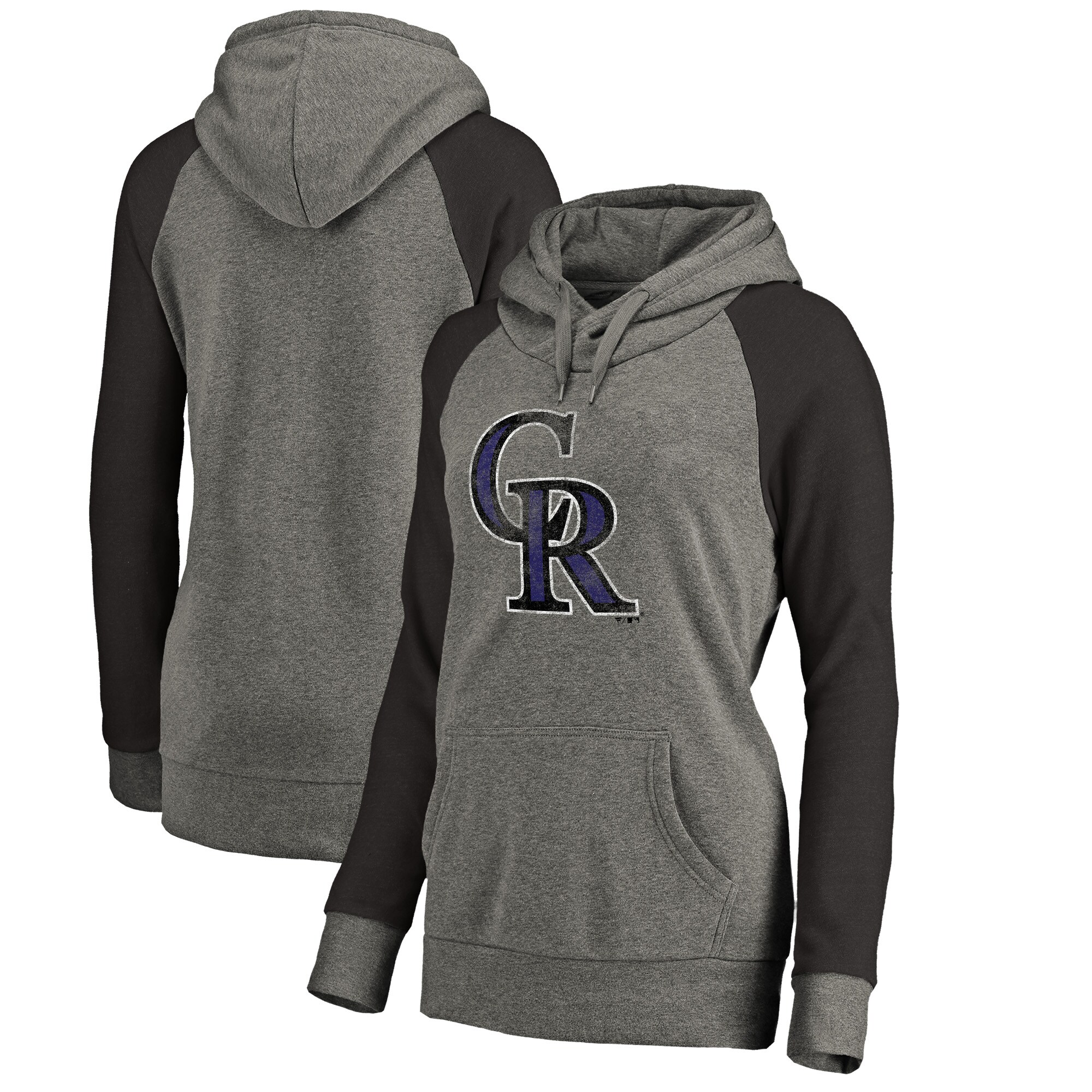 Colorado Rockies Fanatics Branded Women's Distressed Team Logo Tri-Blend Raglan Pullover Hoodie - Gray/Black