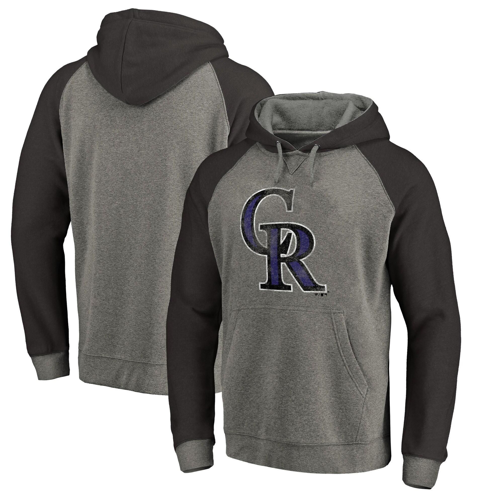 Colorado Rockies Fanatics Branded Distressed Team Logo Tri-Blend Raglan Pullover Hoodie - Gray/Black