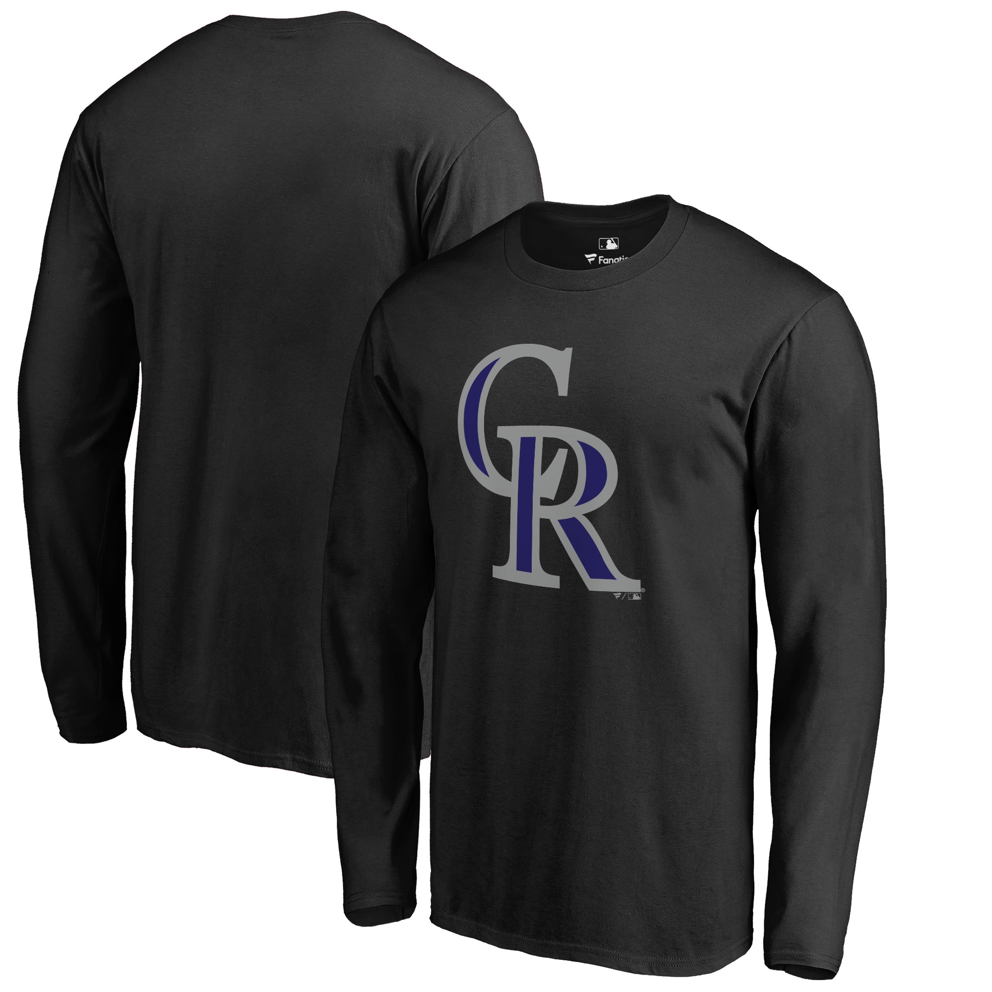 Colorado Rockies Big & Tall Primary Team Logo Long Sleeve T-Shirt - Black