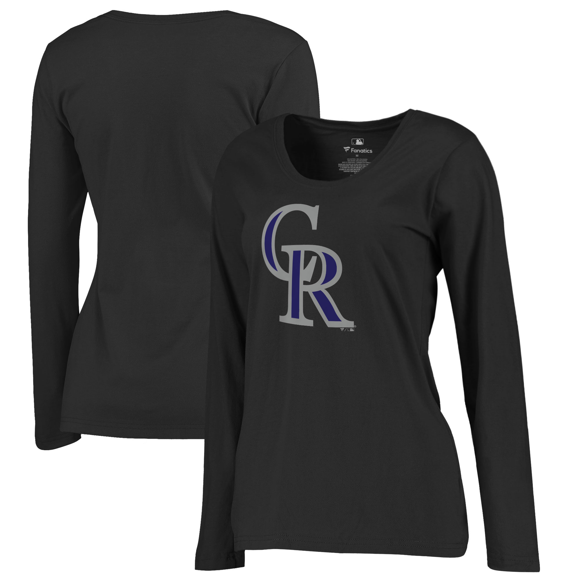 Colorado Rockies Women's Plus Sizes Primary Team Logo Long Sleeve T-Shirt - Black