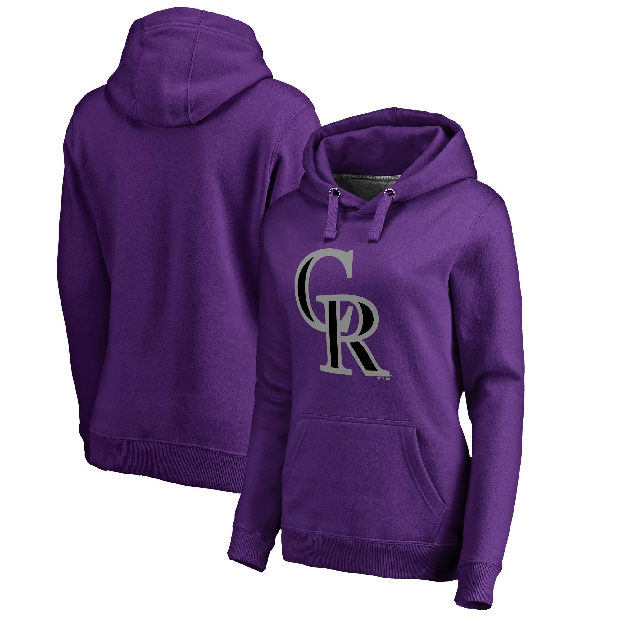 Colorado Rockies Women's Plus Sizes Primary Team Logo Pullover Hoodie - Purple