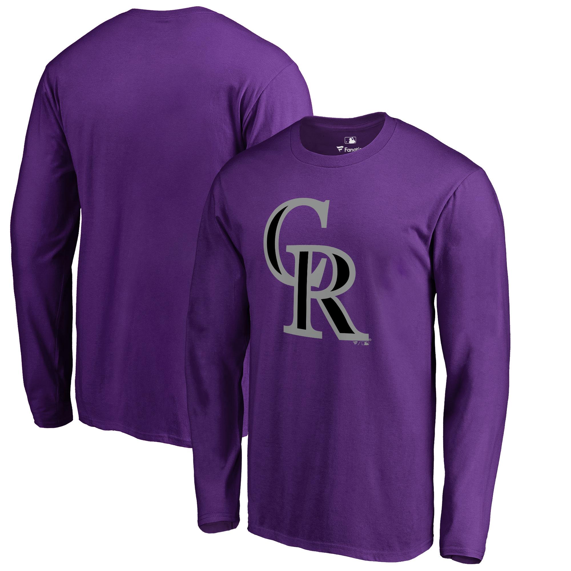 Colorado Rockies Big & Tall Primary Team Logo Long Sleeve T-Shirt - Purple