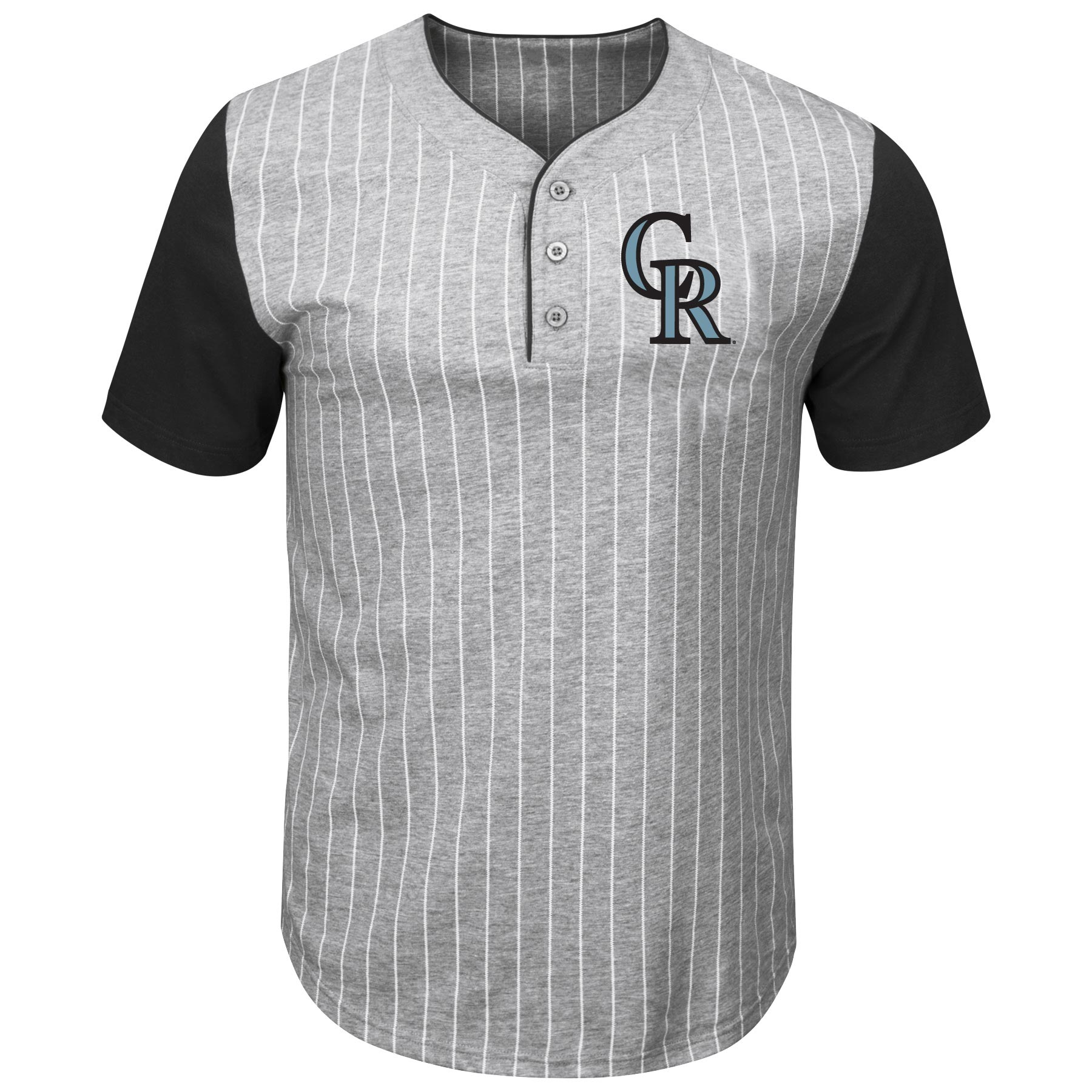 Colorado Rockies Majestic Big & Tall Life or Death Pinstripe Henley T-Shirt - Gray/Black