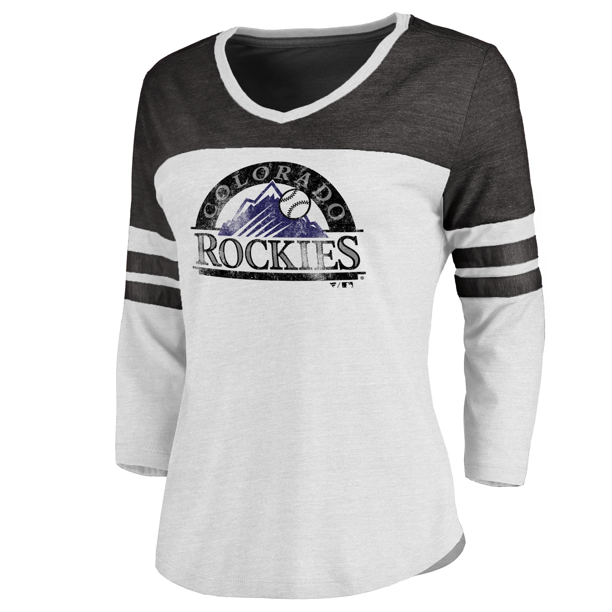 Colorado Rockies Women's Cooperstown Two-Tone Three-Quarter Sleeve Tri-Blend T-Shirt - White/Black