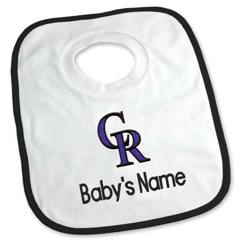 Colorado Rockies Newborn & Infant Personalized Bib - White