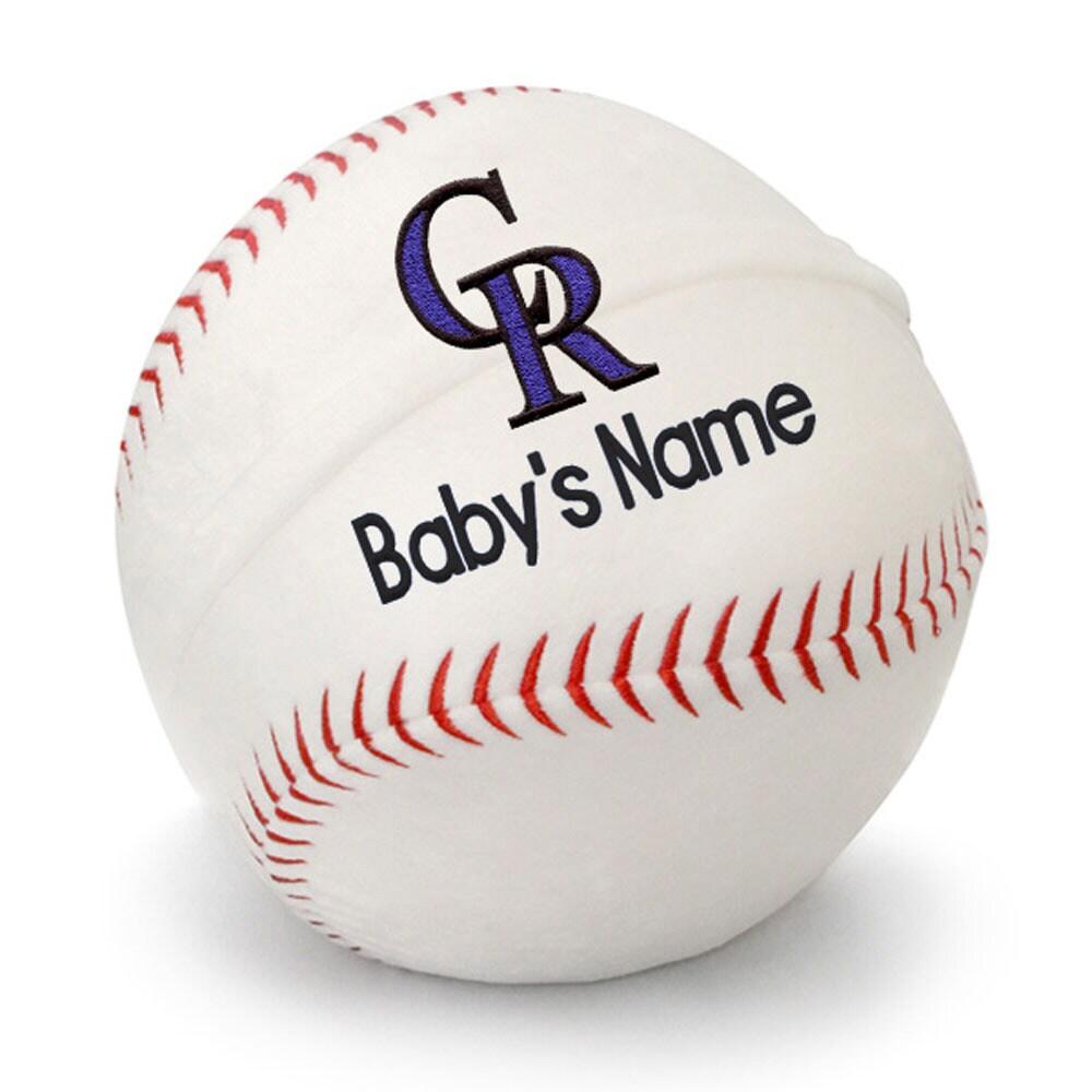 Colorado Rockies Personalized Plush Baby Baseball - White