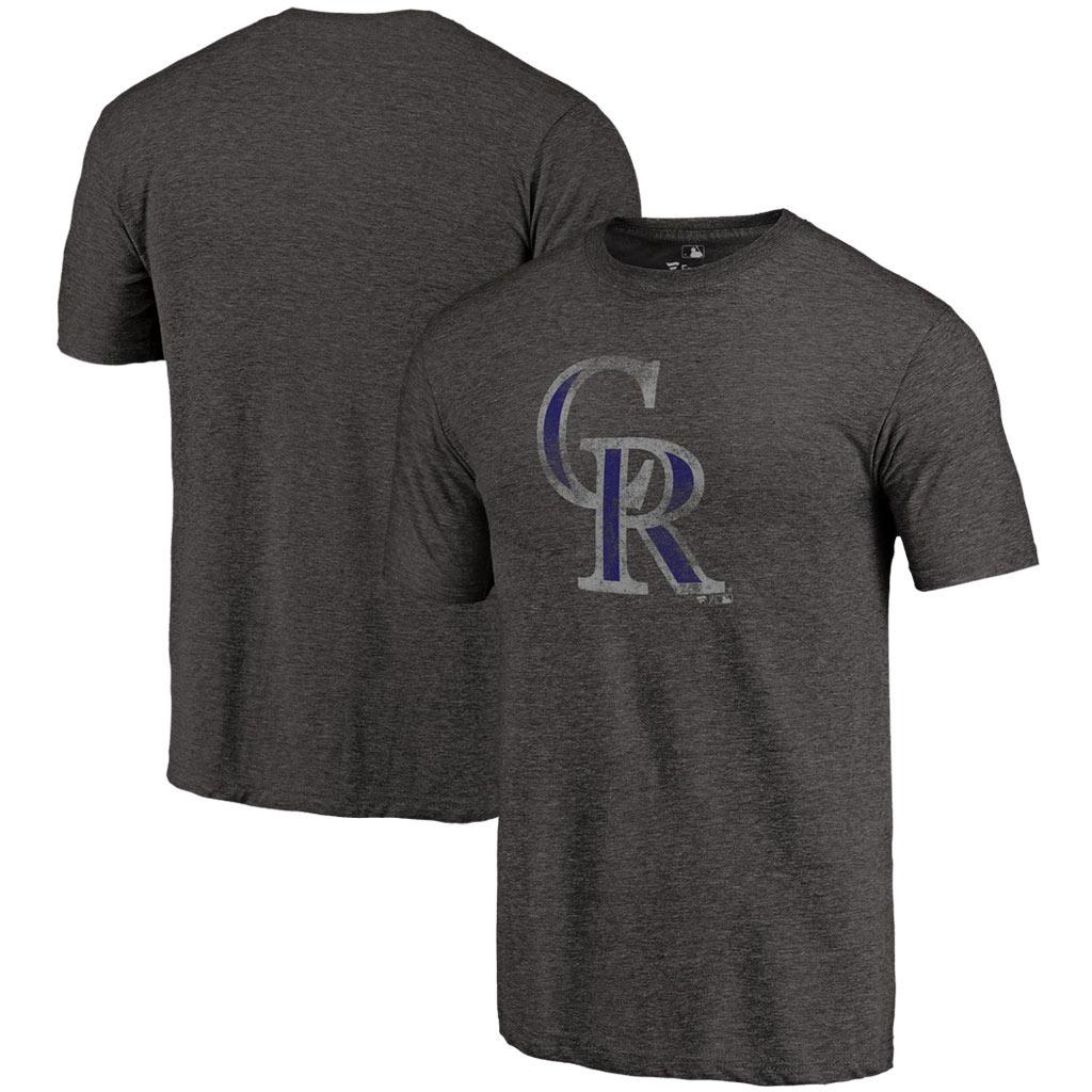 Colorado Rockies Distressed Team Tri-Blend T-Shirt - Heathered Black