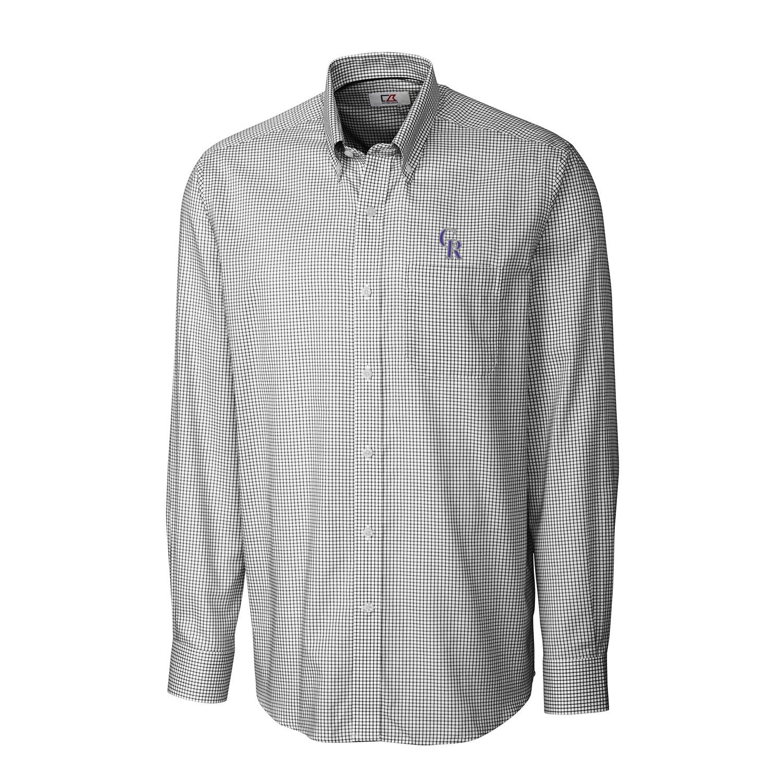 Colorado Rockies Cutter & Buck Tattersall Woven Long Sleeve Button-Down Shirt - Black