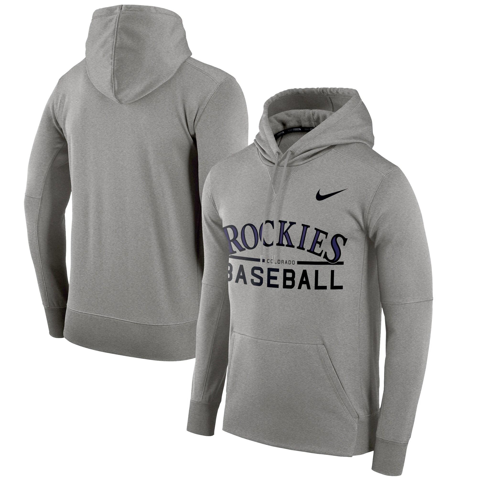 Colorado Rockies Nike Pullover Hoodie - Heathered Gray