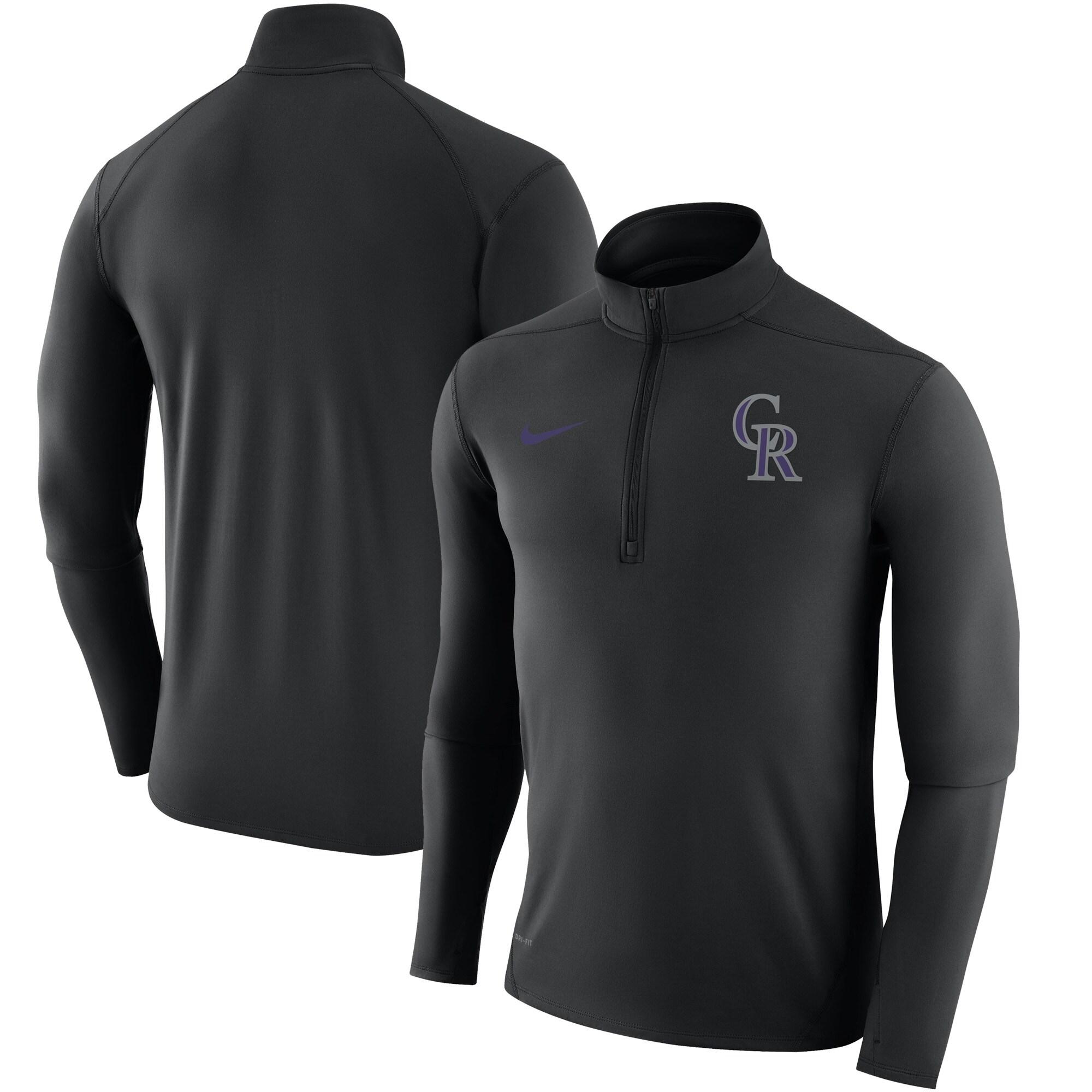 Colorado Rockies Nike Element Half-Zip Performance Top - Black