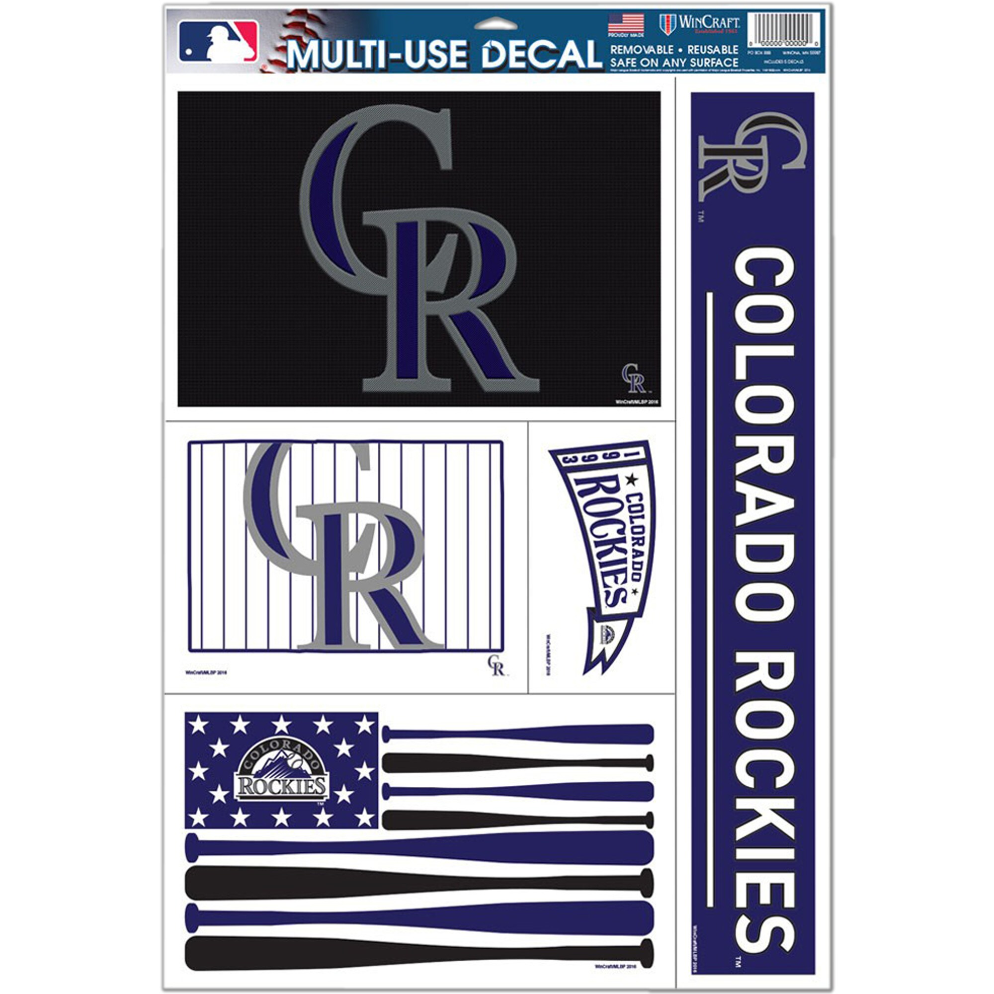 """Colorado Rockies WinCraft 11"""" x 17"""" Stars and Stripes Multi-Use Decal Sheet"""