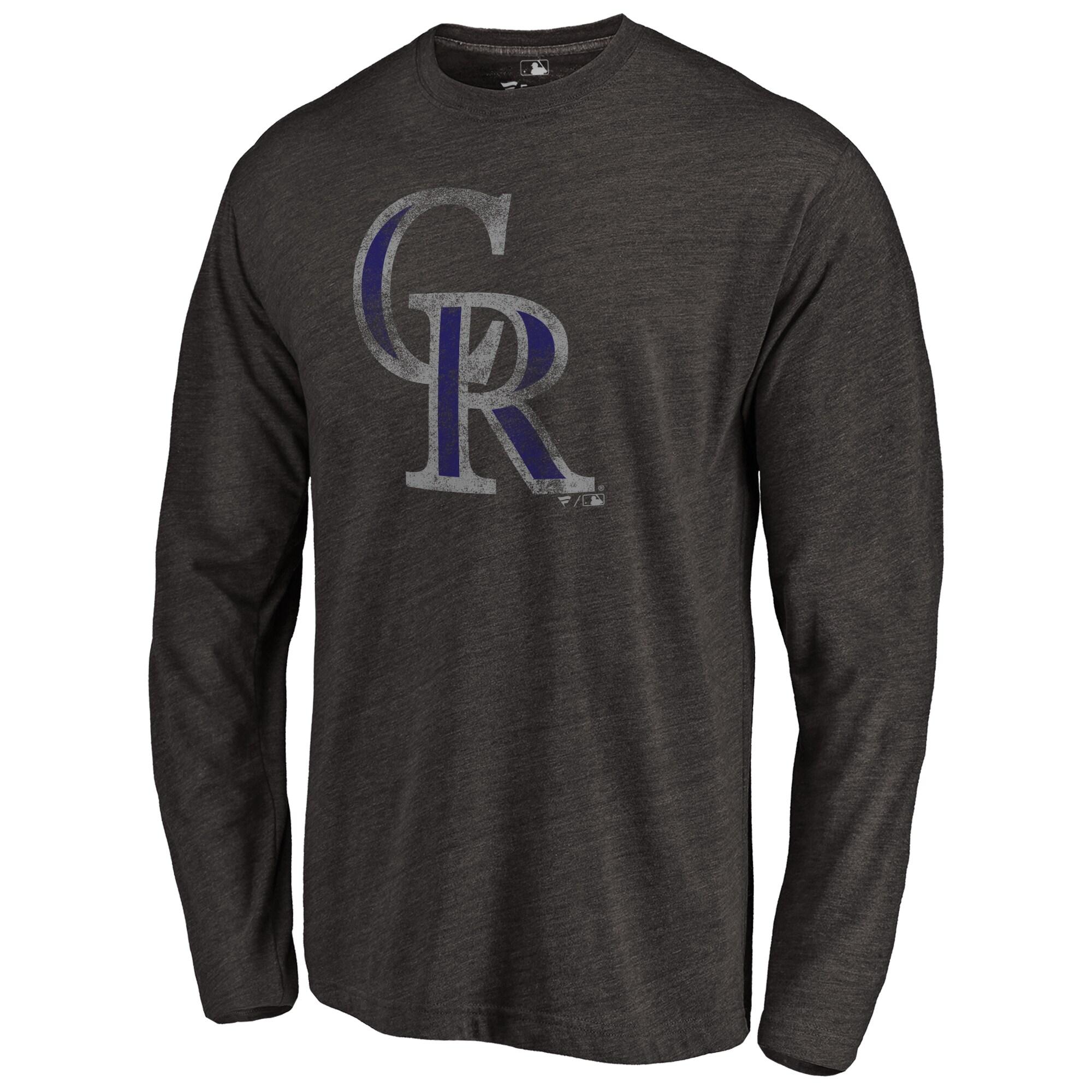 Colorado Rockies Distressed Team Long Sleeve Tri-Blend T-shirt - Black