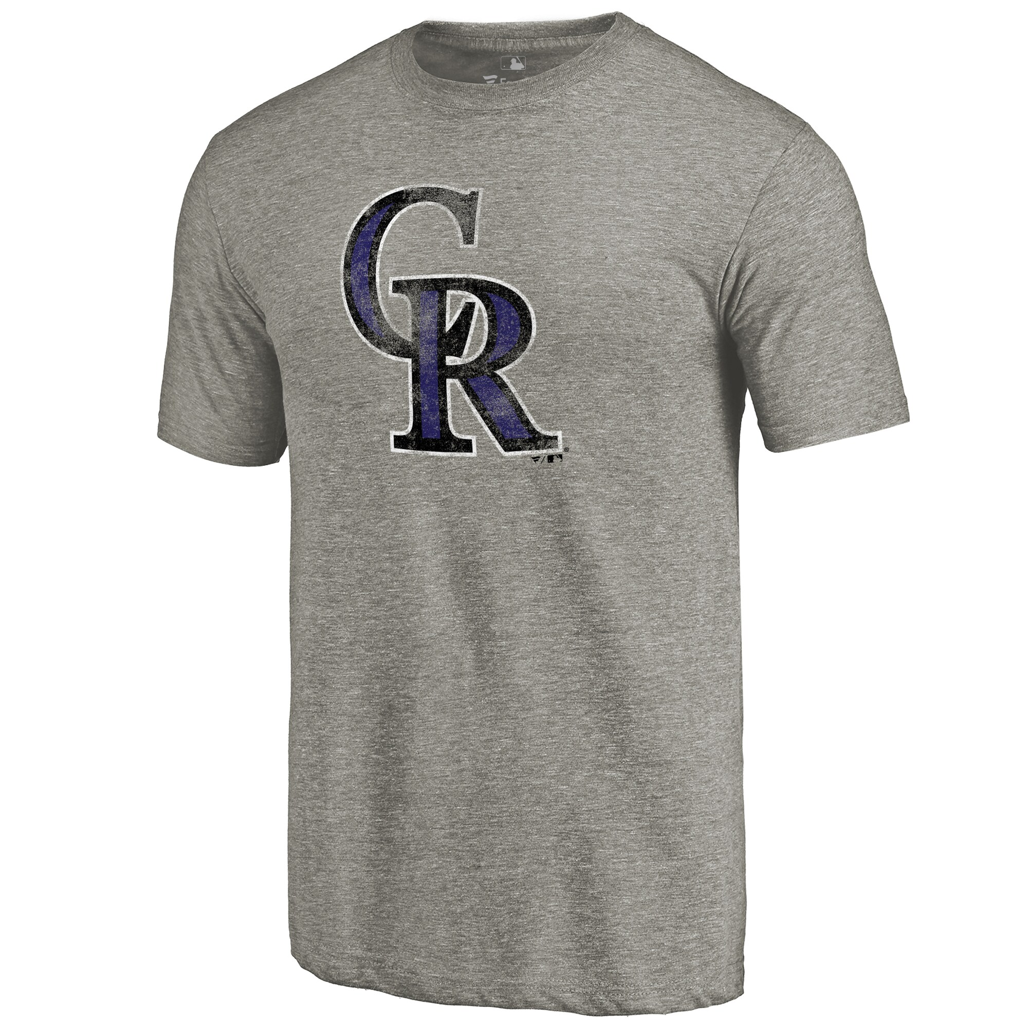 Colorado Rockies Distressed Team Tri-Blend T-Shirt - Ash