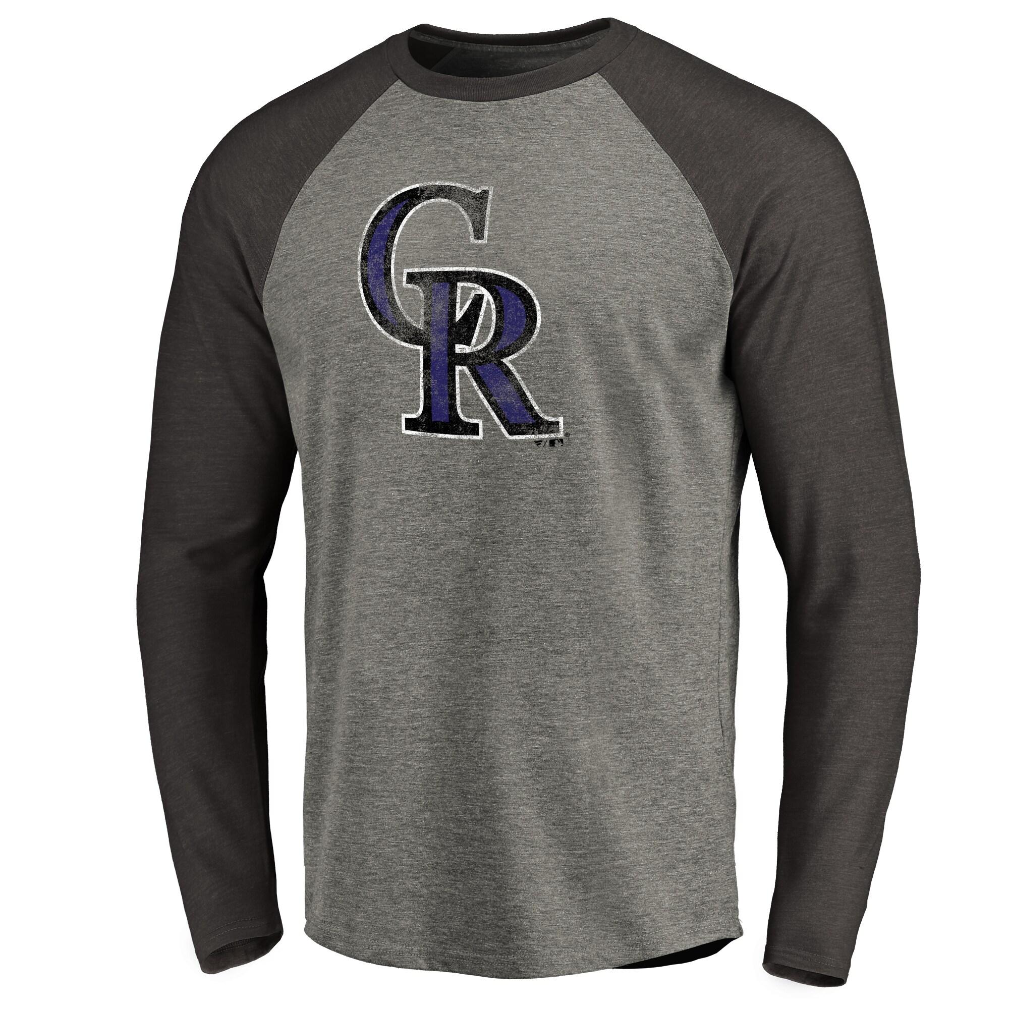 Colorado Rockies Distressed Team Raglan Tri-Blend Long Sleeve T-Shirt - Ash