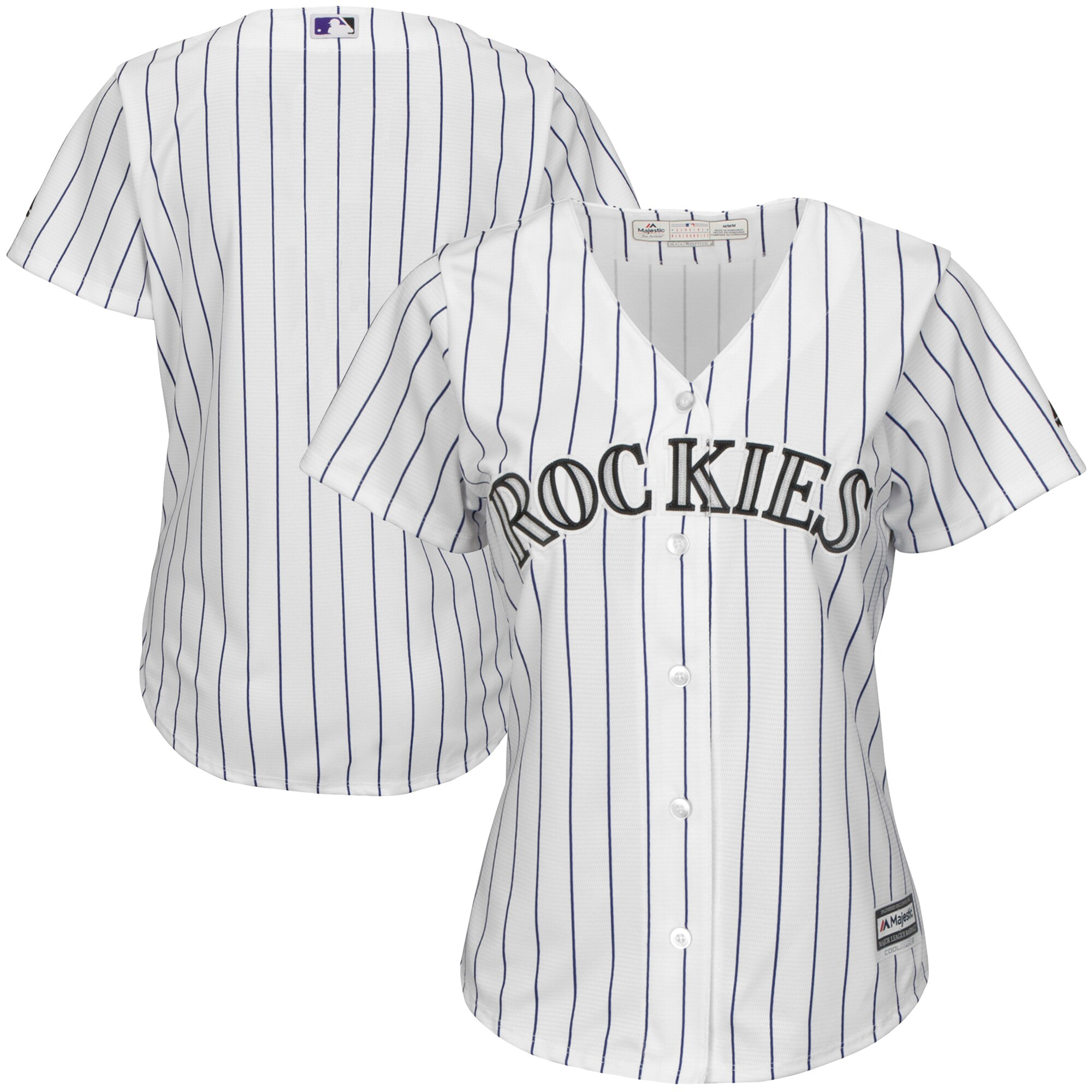 Colorado Rockies Majestic Women's Home Cool Base Team Jersey - White/Purple