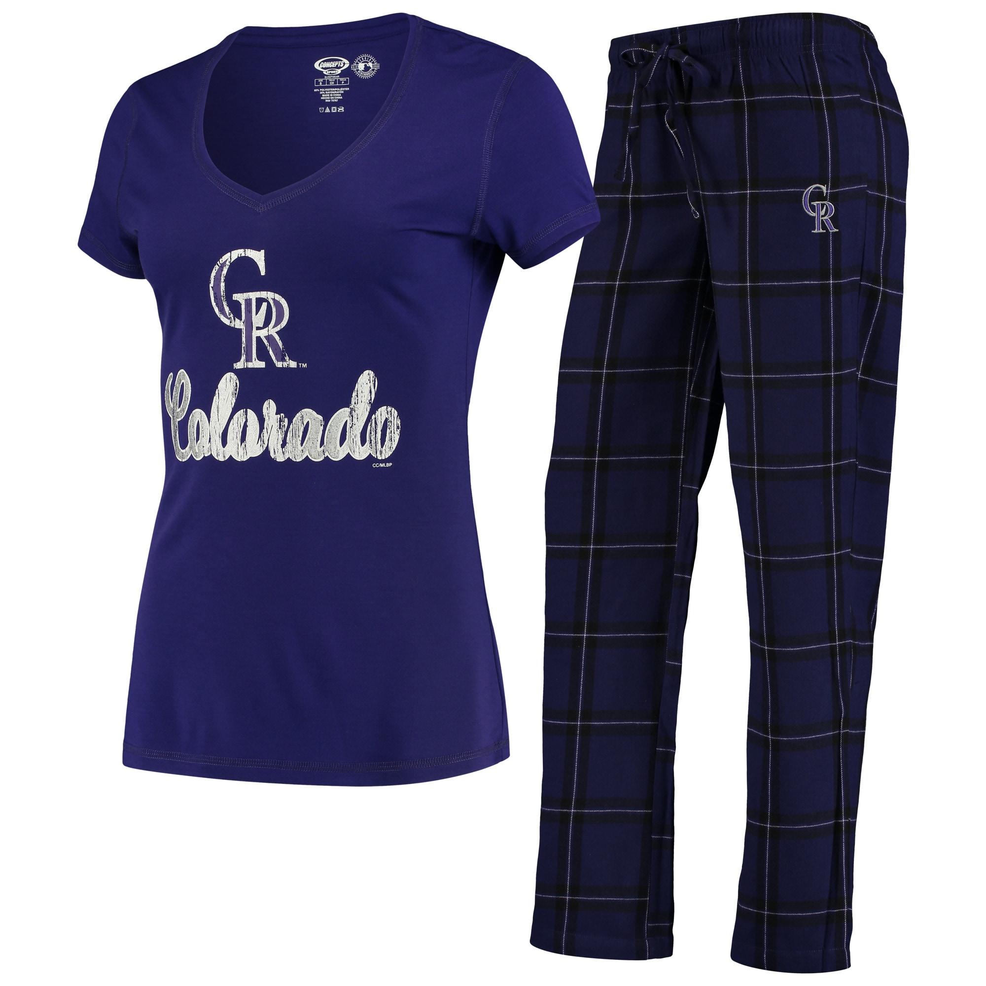 Colorado Rockies Concepts Sport Women's Troupe V-Neck T-Shirt & Pants Sleep Set - Purple/Black