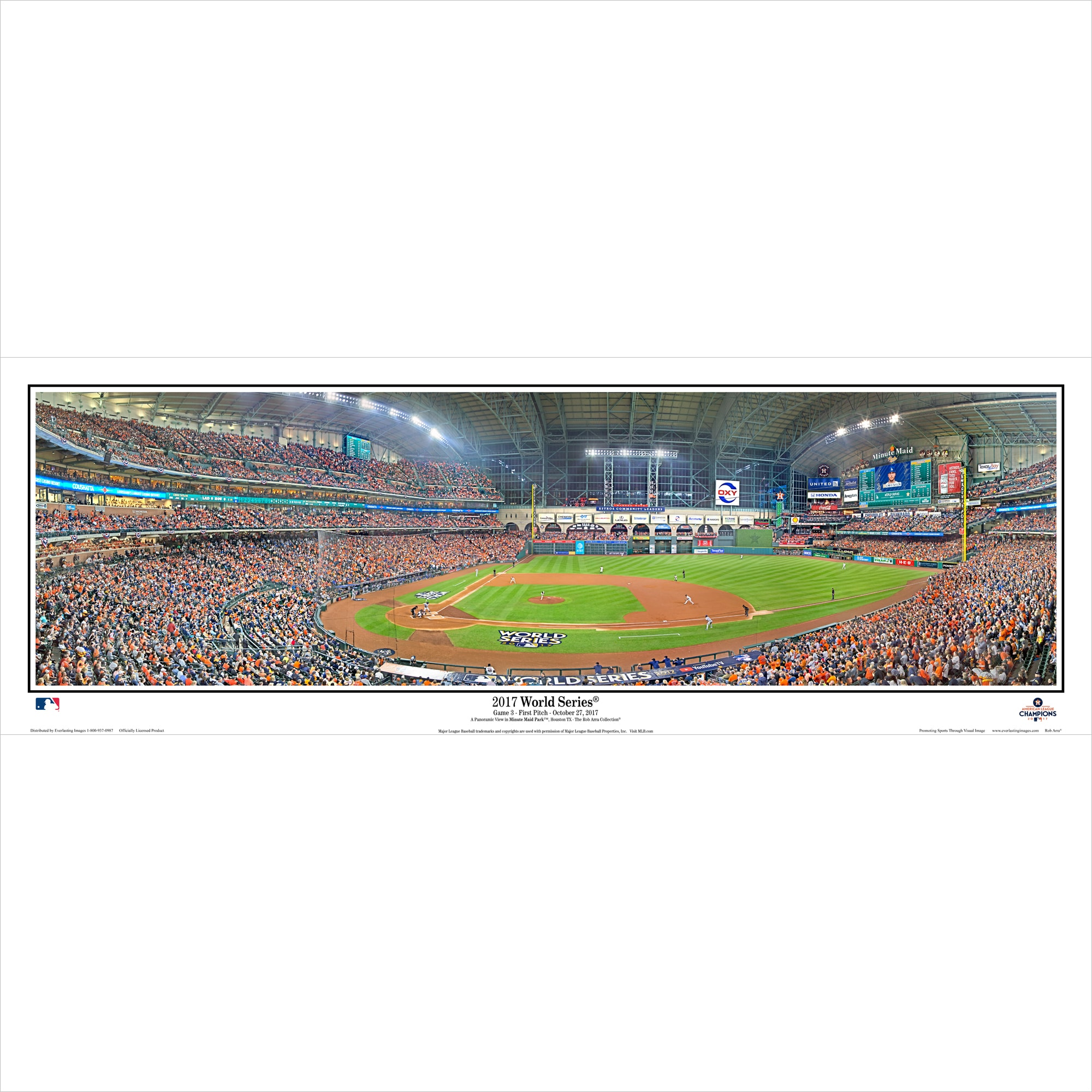 "Houston Astros 15"" x 40"" 2017 World Series Champions Standard Frame Panoramic Photo"