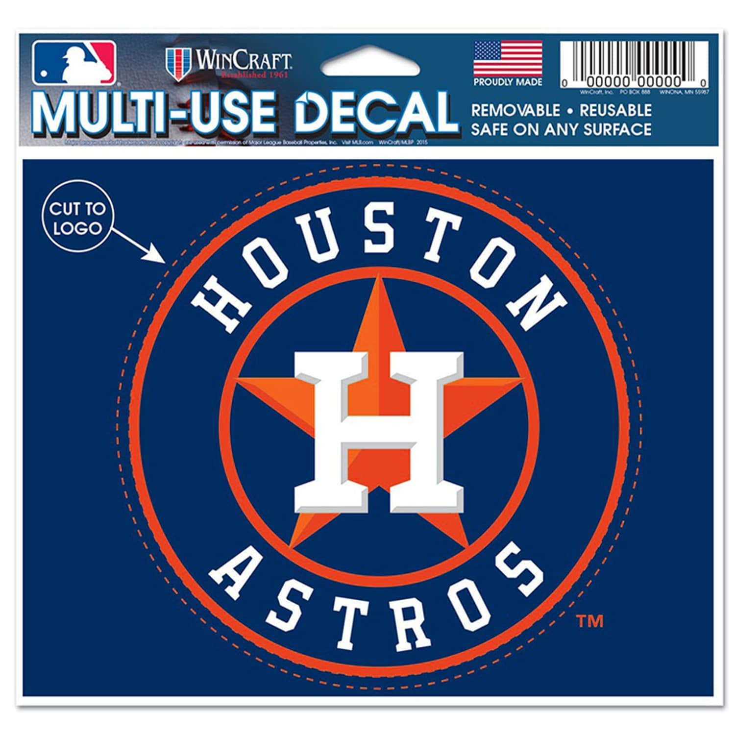 "Houston Astros WinCraft 5"" x 6"" Multi-Use Decal-"