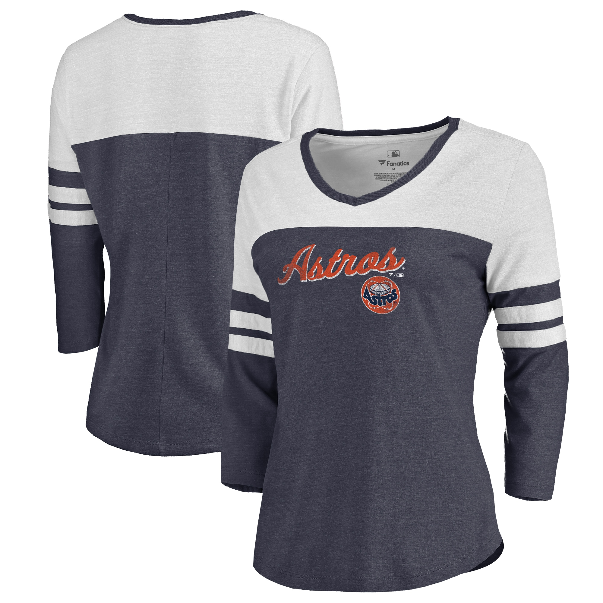 Fanatics Branded Houston Astros Women's Navy Rising Script Color Block 3/4 Sleeve Tri-Blend T-Shirt