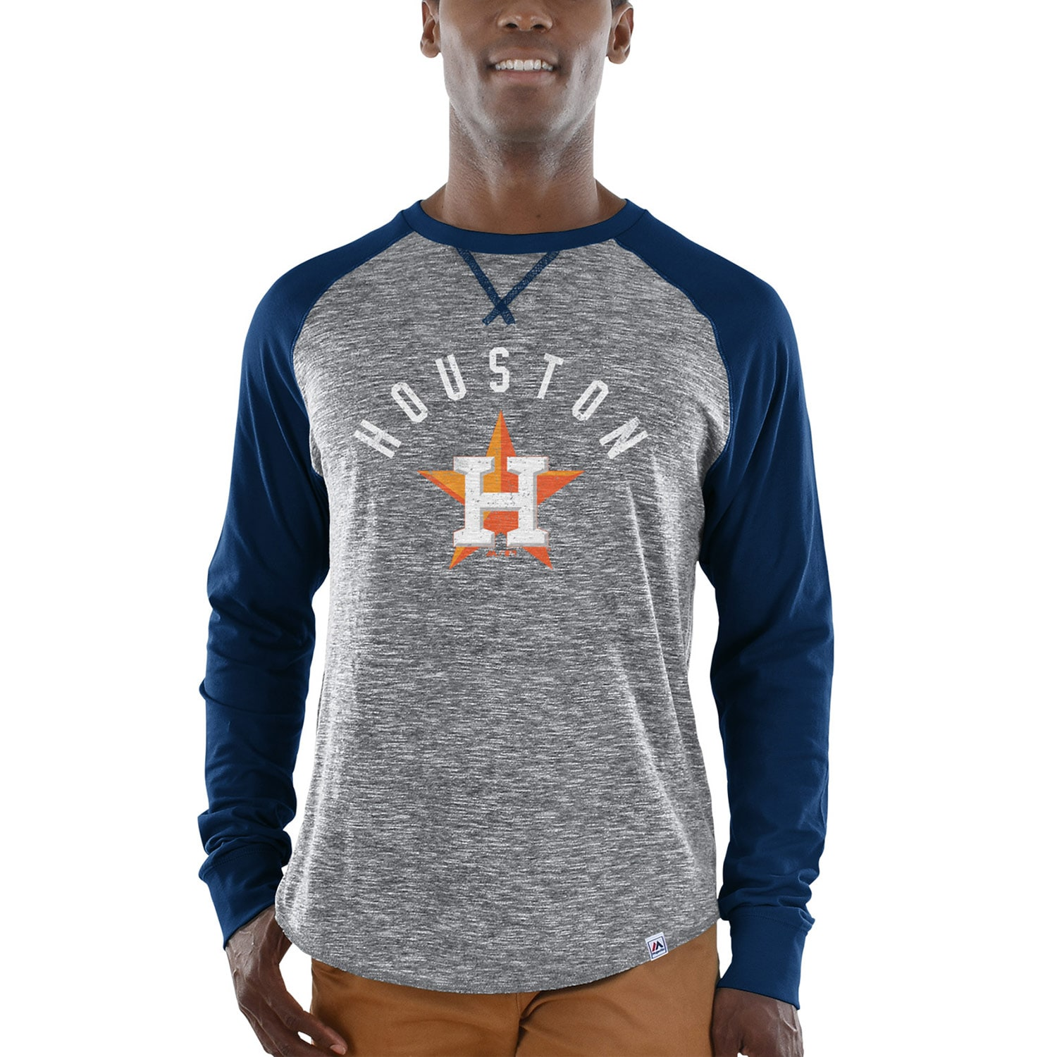 Houston Astros Majestic Special Move Long Sleeve T-Shirt - Gray/Navy
