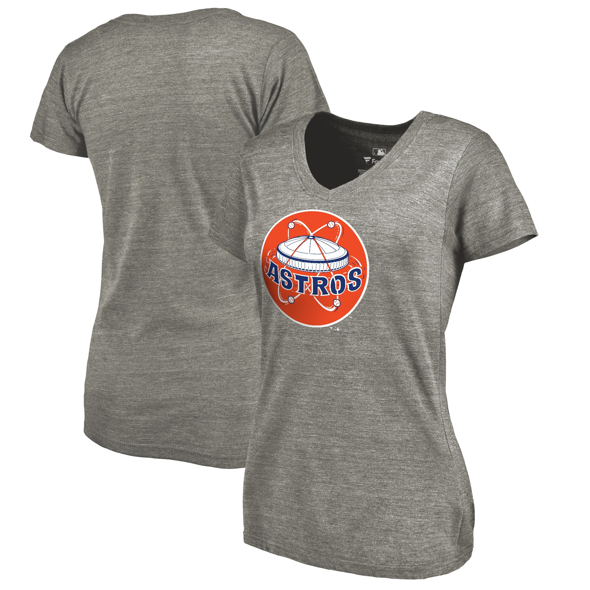 Houston Astros Fanatics Branded Women's Cooperstown Collection Forbes Tri-Blend V-Neck T-Shirt - Ash