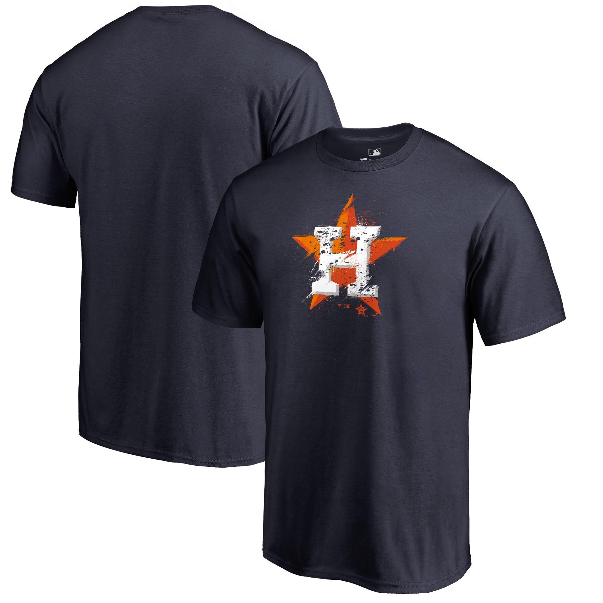 Houston Astros Fanatics Branded Splatter Logo Big and Tall T-Shirt - Navy