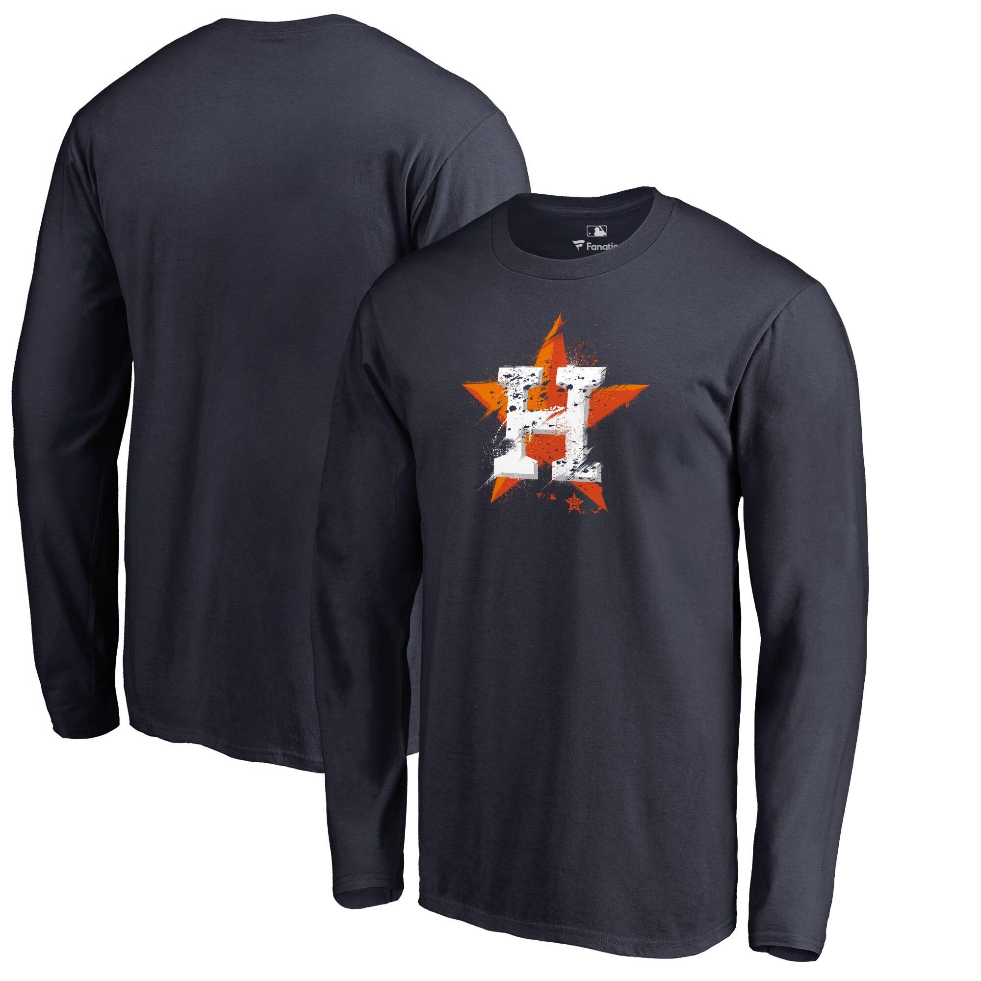 Houston Astros Fanatics Branded Splatter Logo Long Sleeve T-Shirt - Navy