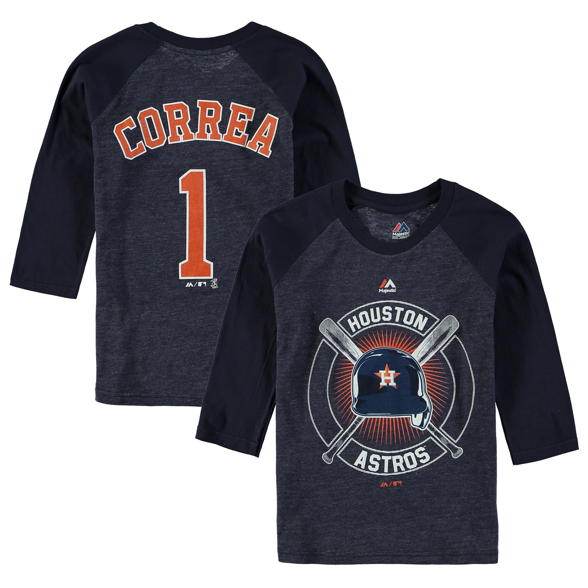 Carlos Correa Houston Astros Youth Name & Number Tri-Blend 3/4-Sleeve Raglan T-Shirt - Navy