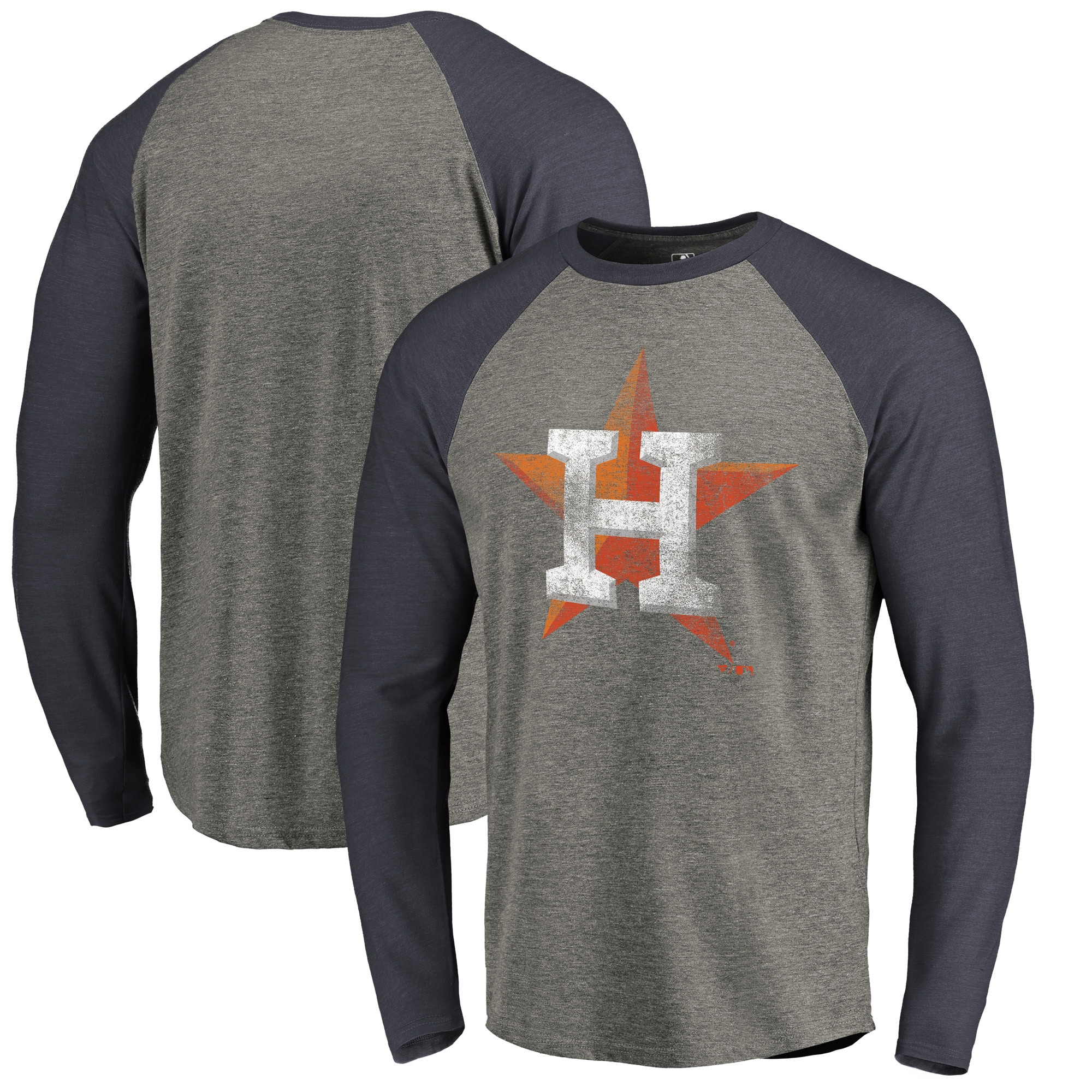 Houston Astros Fanatics Branded Distressed Team Long Sleeve Tri-Blend Raglan T-Shirt - Gray/Navy