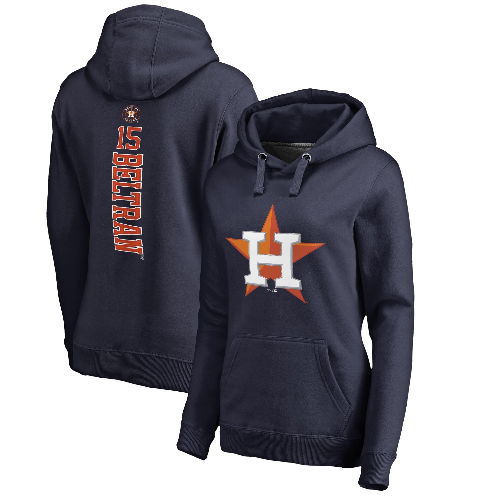 Carlos Beltran Houston Astros Fanatics Branded Women's Backer Pullover Hoodie - Navy