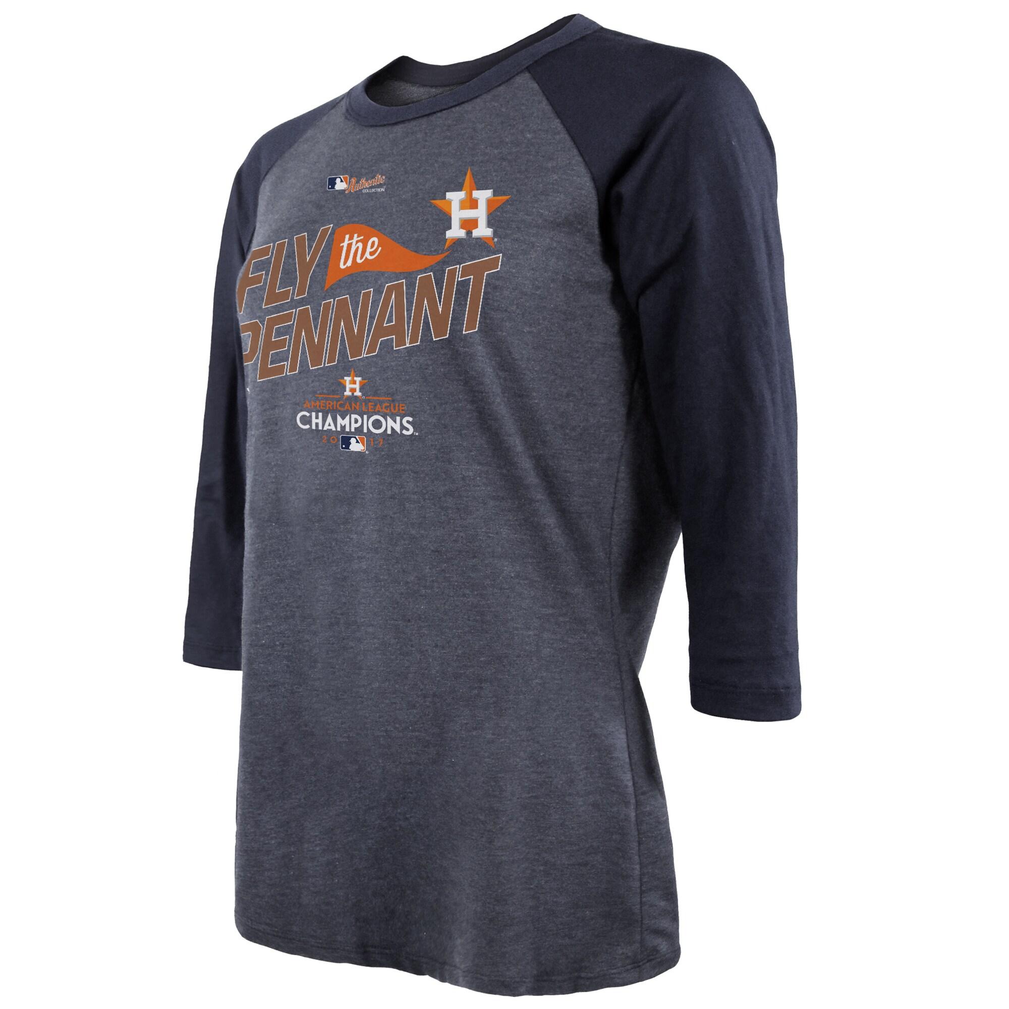 Houston Astros Majestic Threads Women's 2017 American League Champions Locker Room Tri-Blend 3/4 Sleeve Raglan T-Shirt - Navy