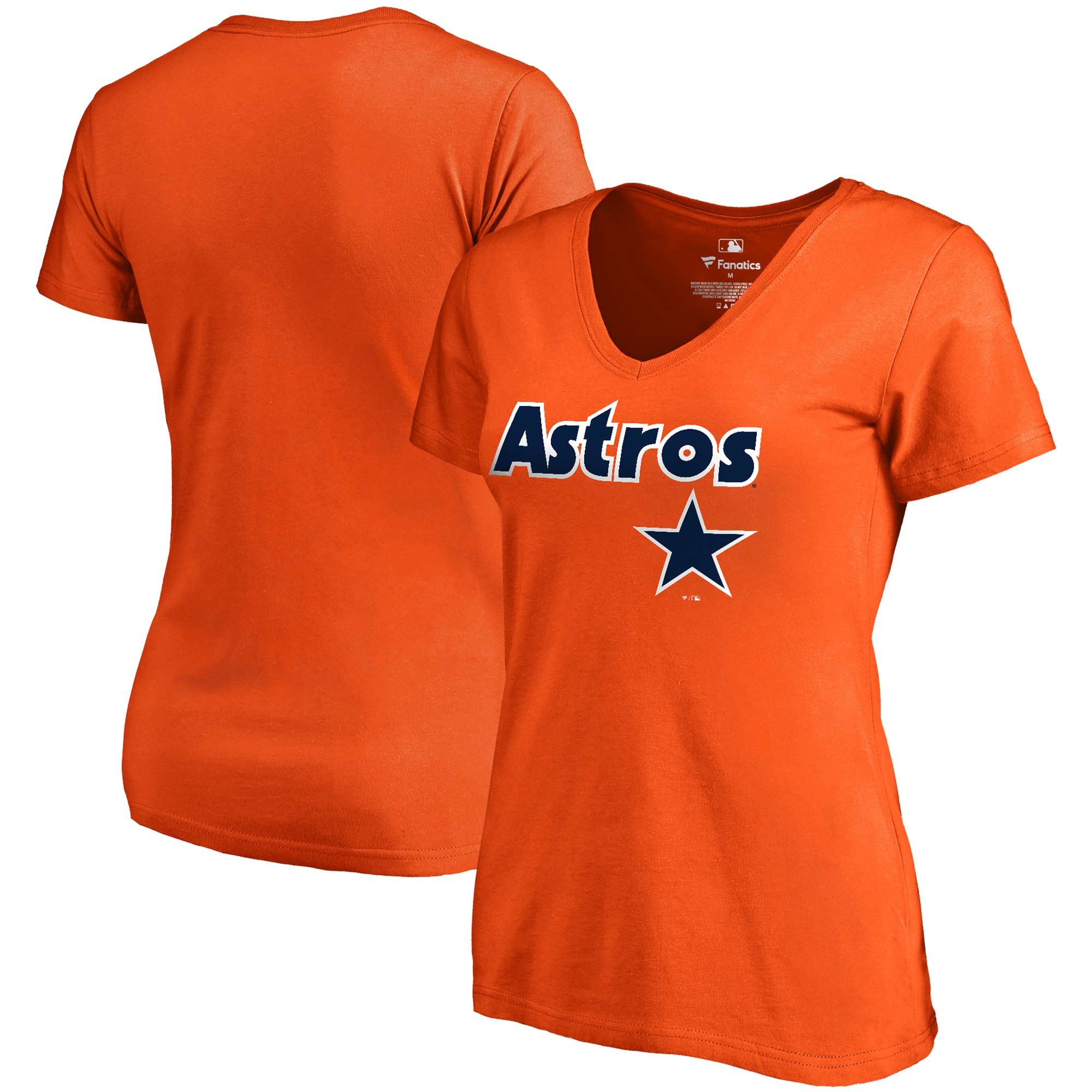Houston Astros Fanatics Branded Women's Cooperstown Collection Wahconah V-Neck T-Shirt - Orange