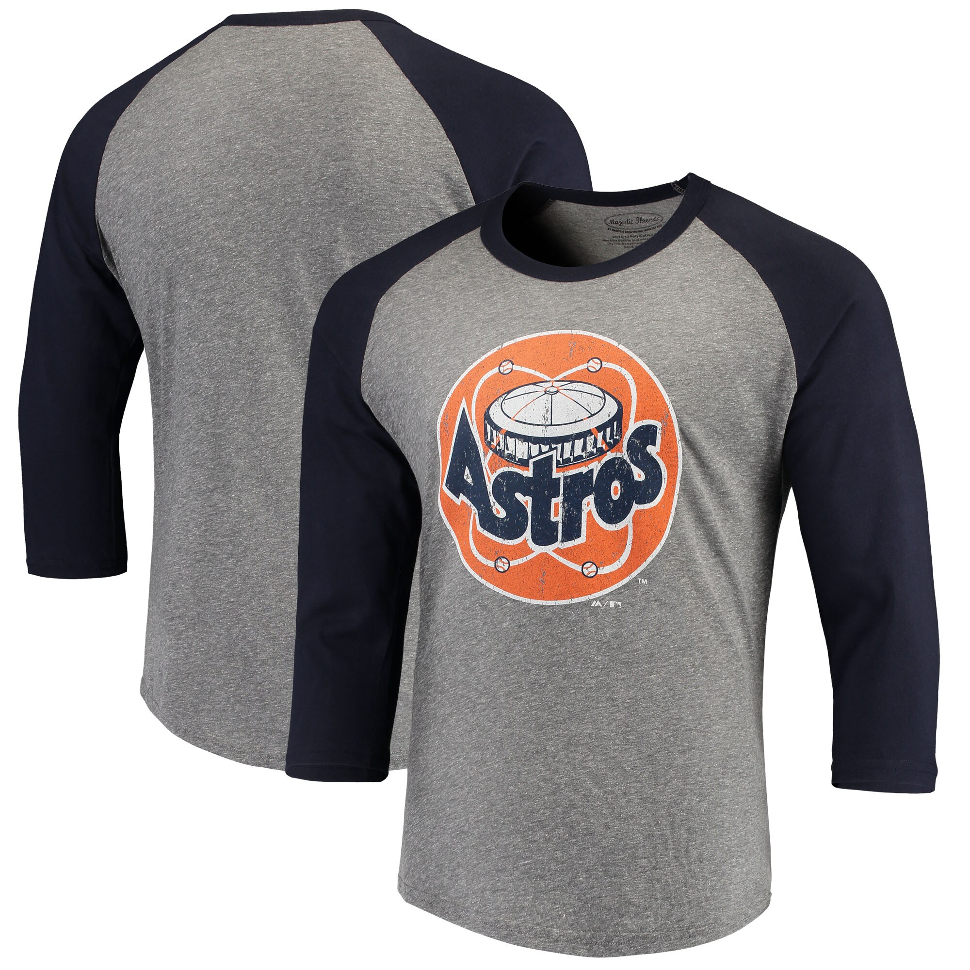 Houston Astros Majestic Threads Cooperstown Collection 3/4-Sleeve Raglan Tri-Blend T-Shirt - Heathered Gray/Navy