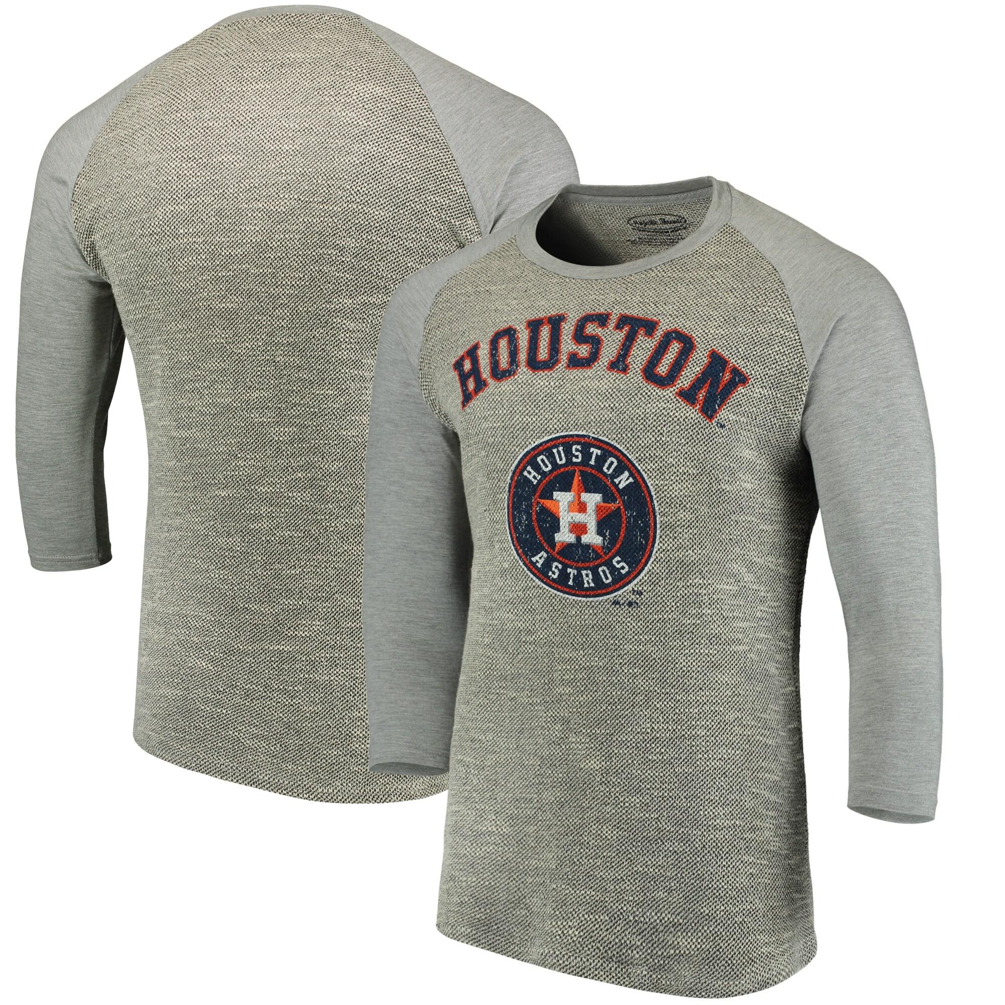 Houston Astros Majestic Threads Tri-Yarn French Terry 3/4-Sleeve Raglan T-Shirt - Gray