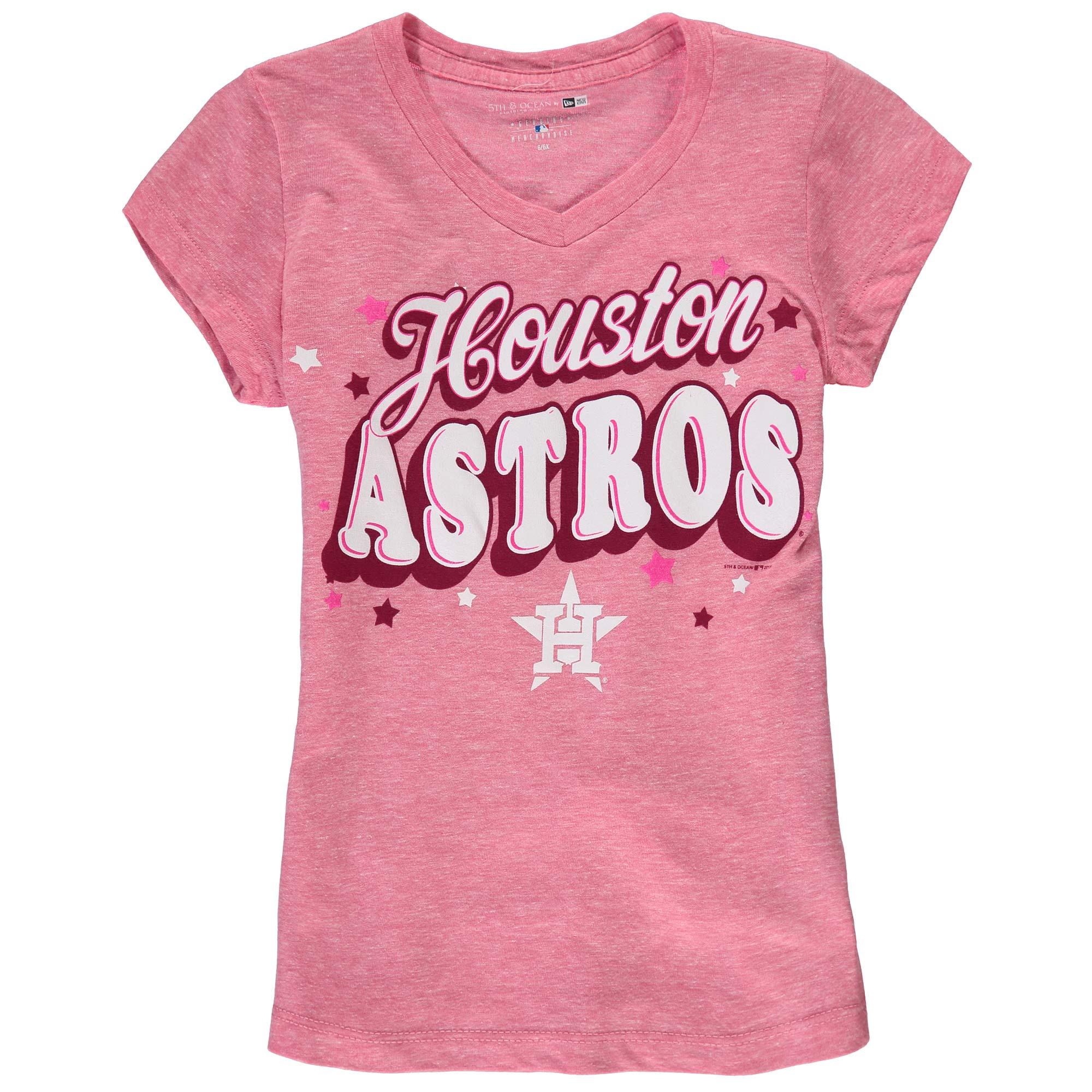 Houston Astros 5th & Ocean by New Era Girls Youth Stars Tri-Blend V-Neck T-Shirt - Pink