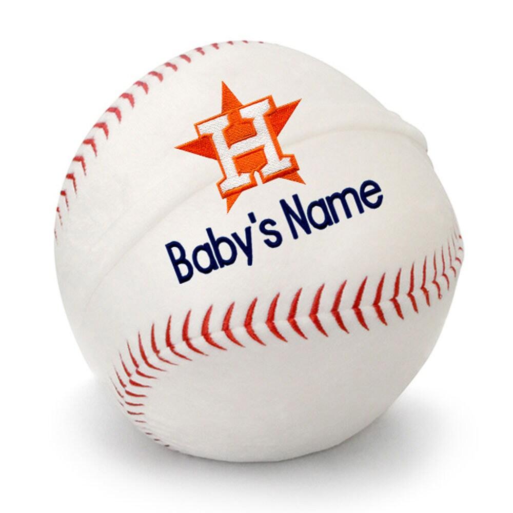Houston Astros Personalized Plush Baby Baseball - White