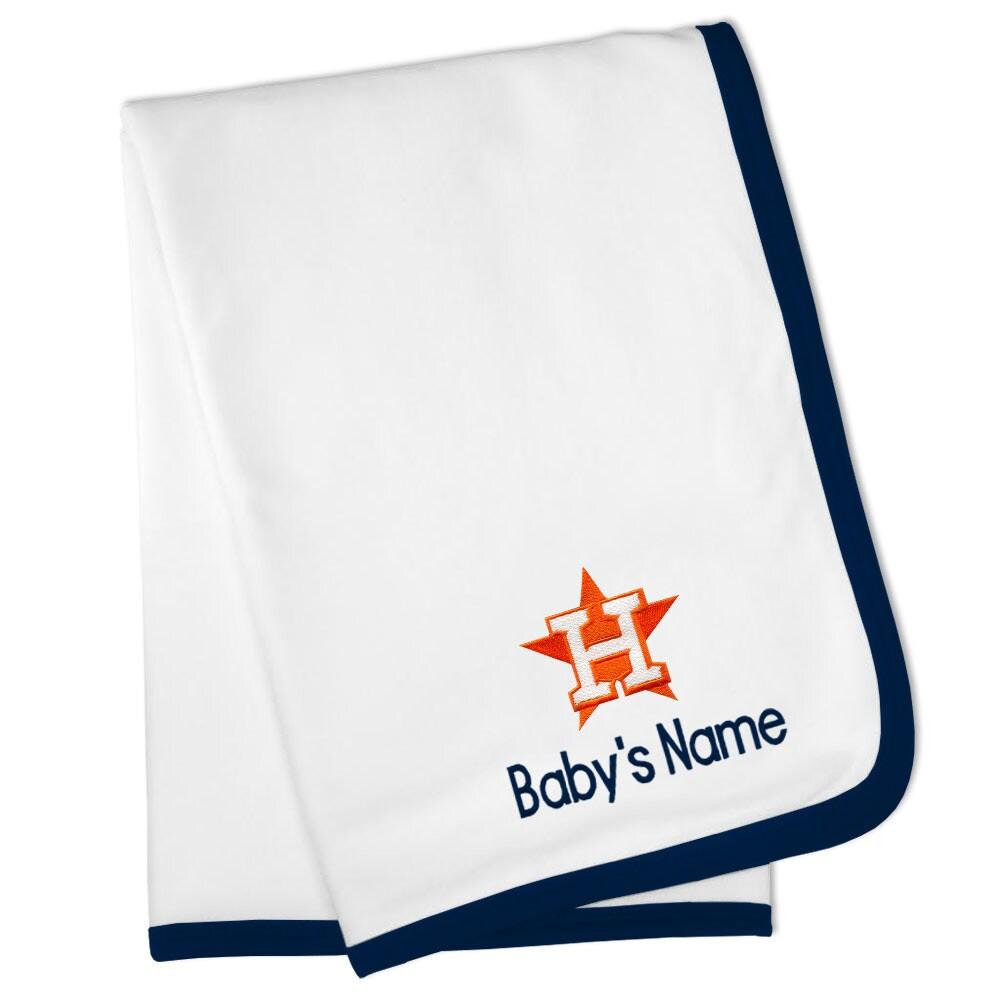 Houston Astros Personalized Baby Blanket - White
