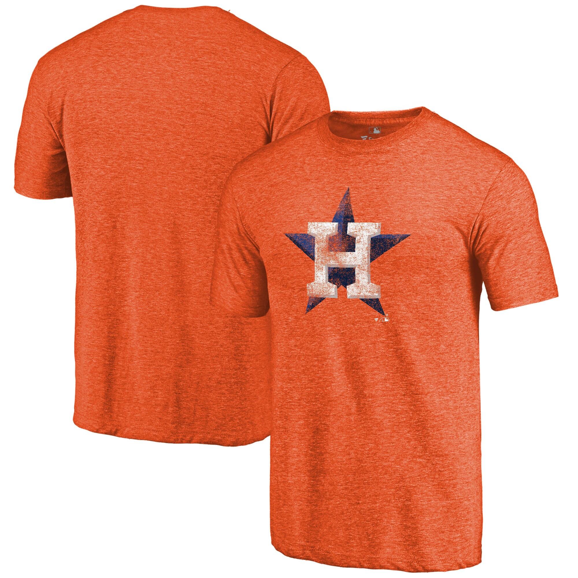 Houston Astros Distressed Team Tri-Blend T-Shirt - Heathered Orange