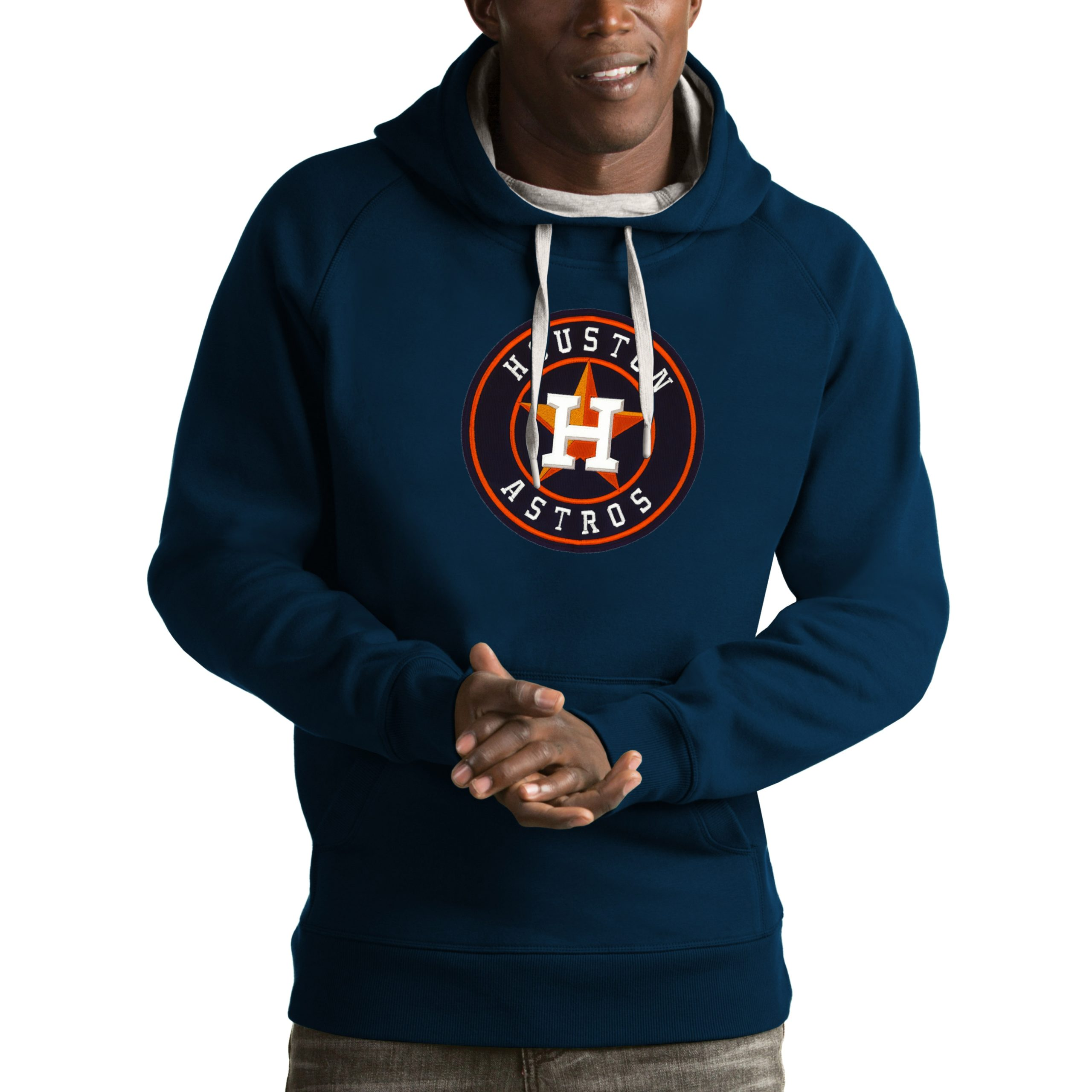 Houston Astros Antigua Victory Pullover Hoodie - Navy