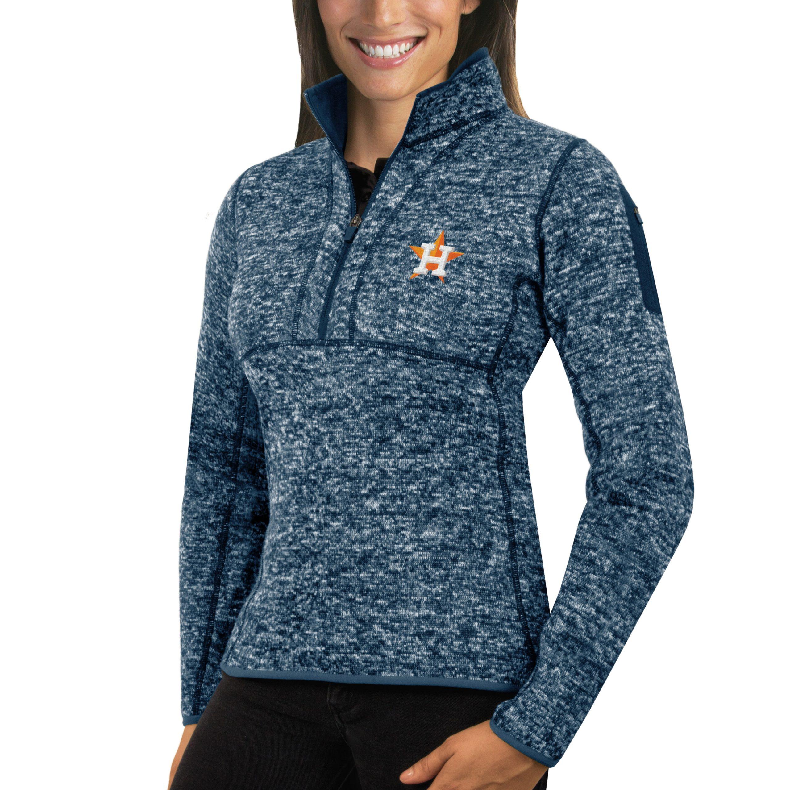 Houston Astros Antigua Women's Fortune Half-Zip Pullover Sweater - Heathered Navy