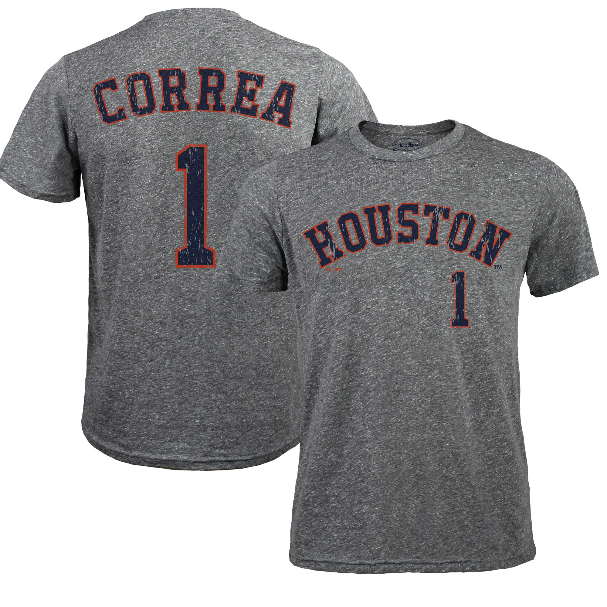 Carlos Correa Houston Astros Majestic Threads Premium Tri-Blend Name & Number T-Shirt - Gray