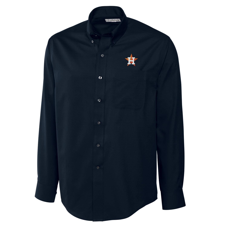 Houston Astros Cutter & Buck Big & Tall Epic Easy Care Fine Twill Long Sleeve Shirt - Navy