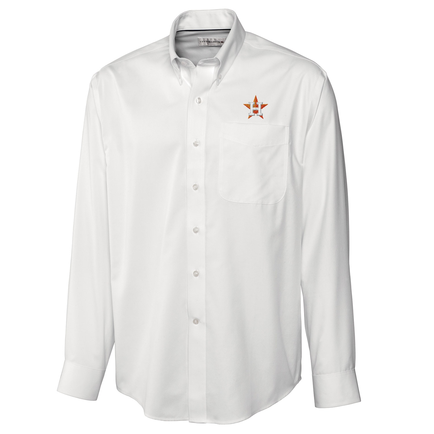 Houston Astros Cutter & Buck Big & Tall Epic Easy Care Fine Twill Long Sleeve Shirt - White