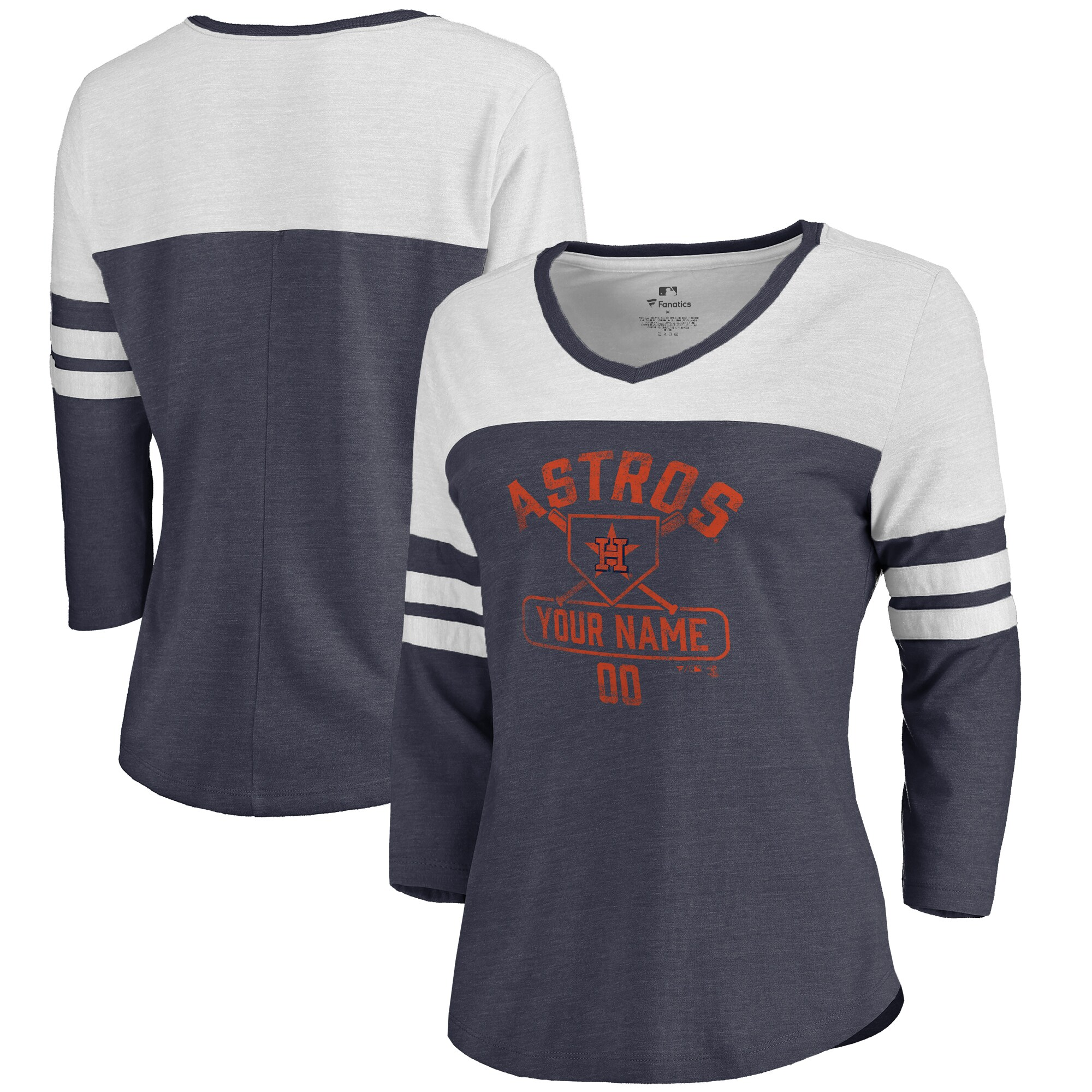 Houston Astros Fanatics Branded Women's Personalized Base Runner Tri-Blend Three-Quarter Sleeve T-Shirt - Navy