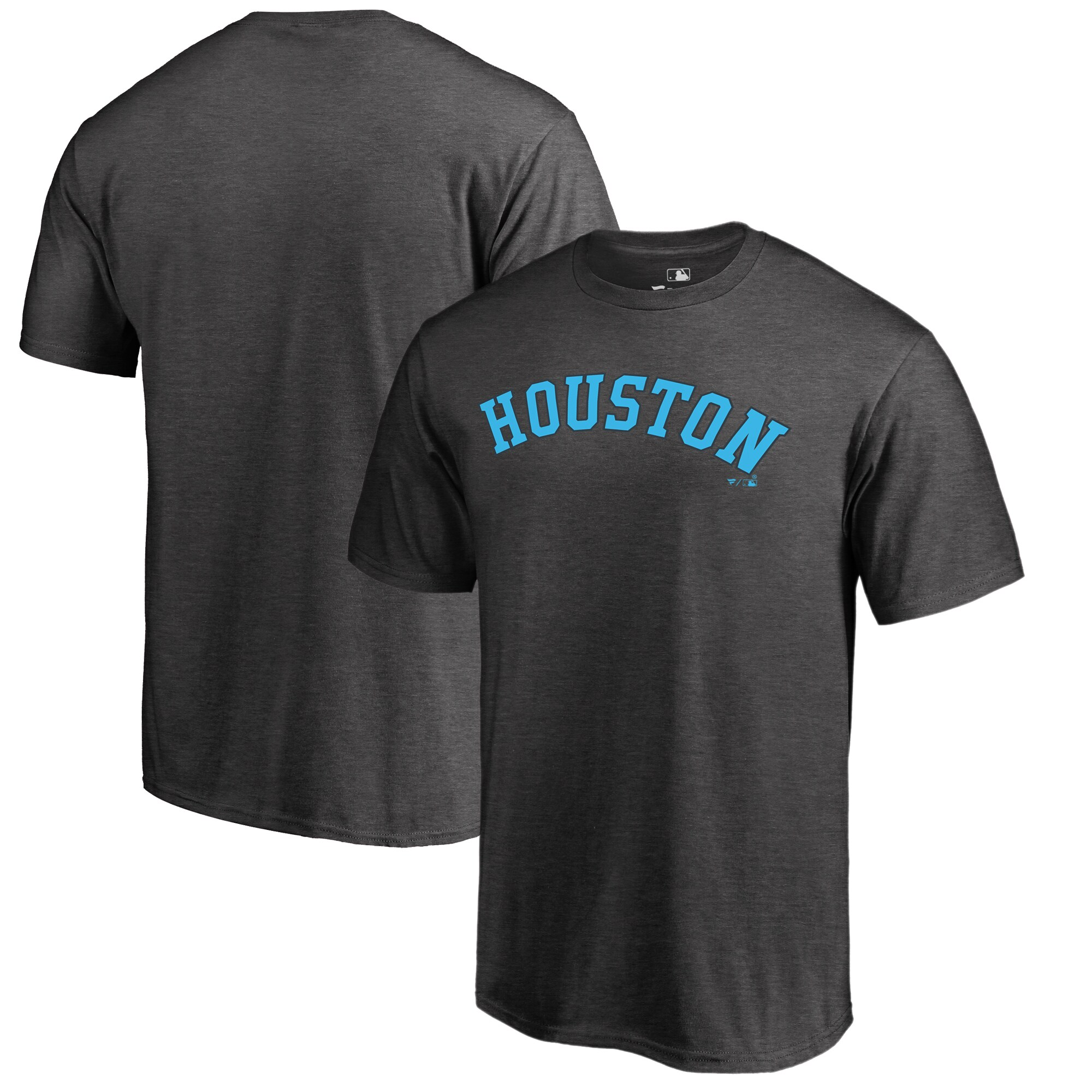 Houston Astros Fanatics Branded 2019 Father's Day Big & Tall Blue Wordmark T-Shirt - Charcoal