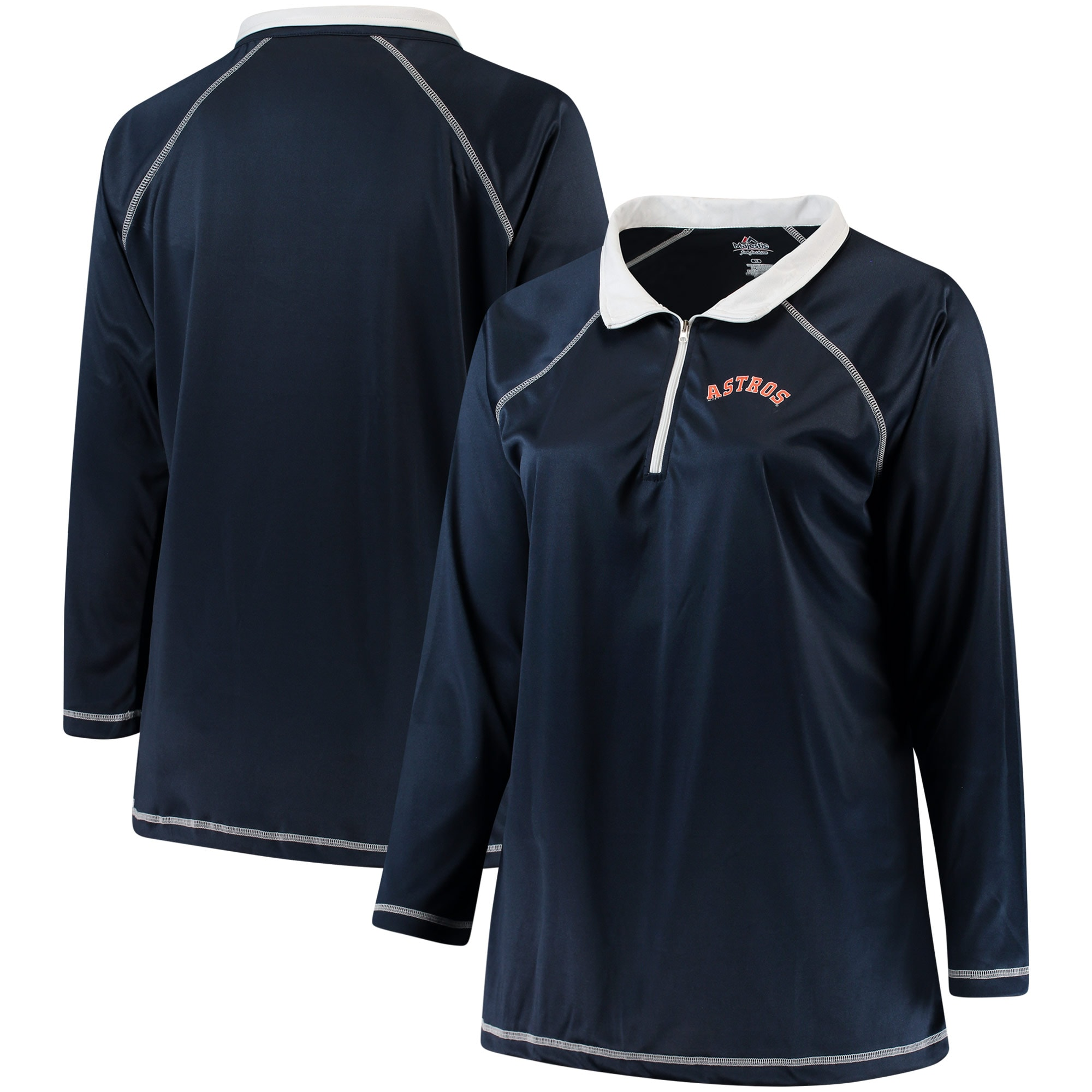 Houston Astros Majestic Women's Plus Size Quarter-Zip Pullover Jacket - Navy