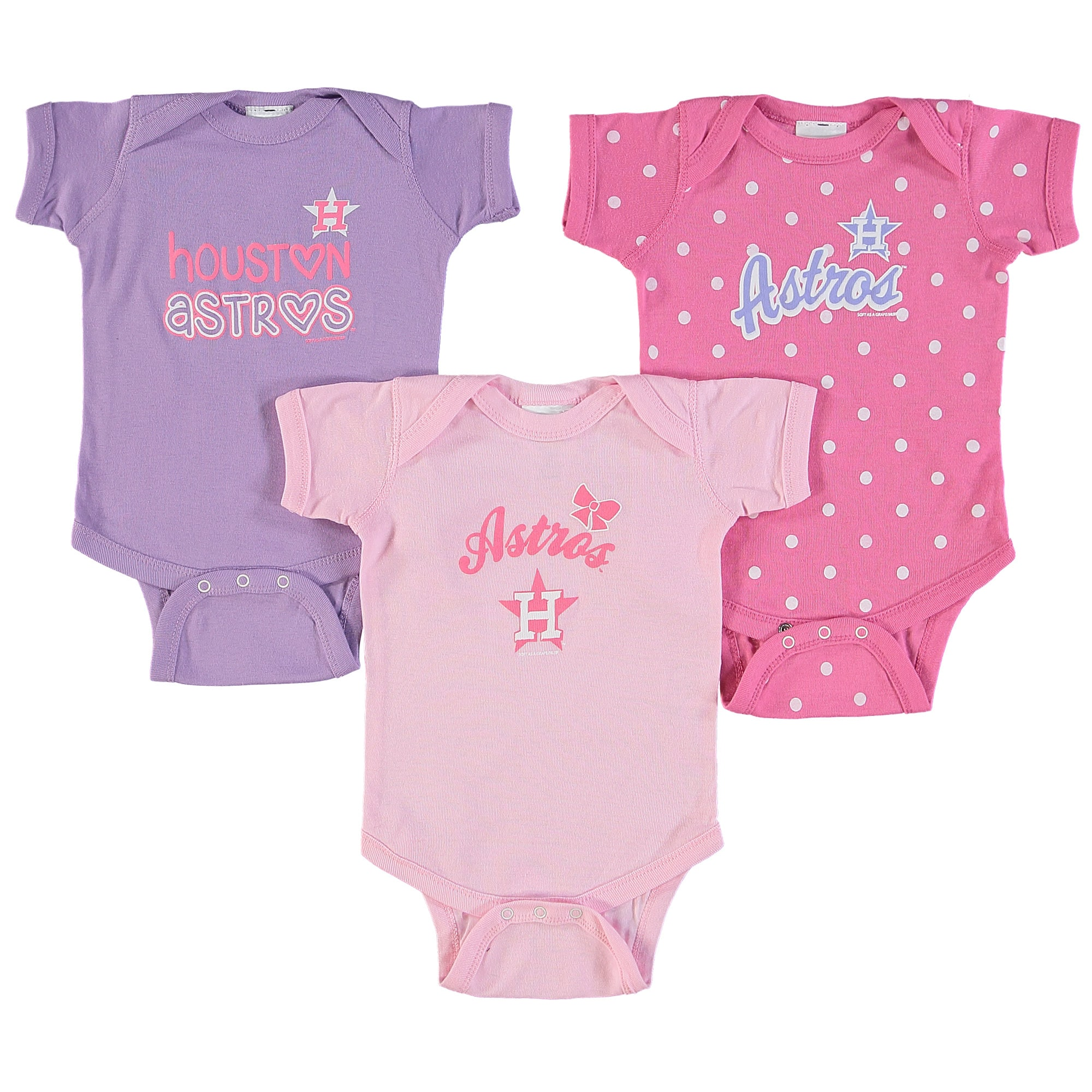 Houston Astros Soft as a Grape Girls Infant 3-Pack Rookie Bodysuit Set - Pink/Purple